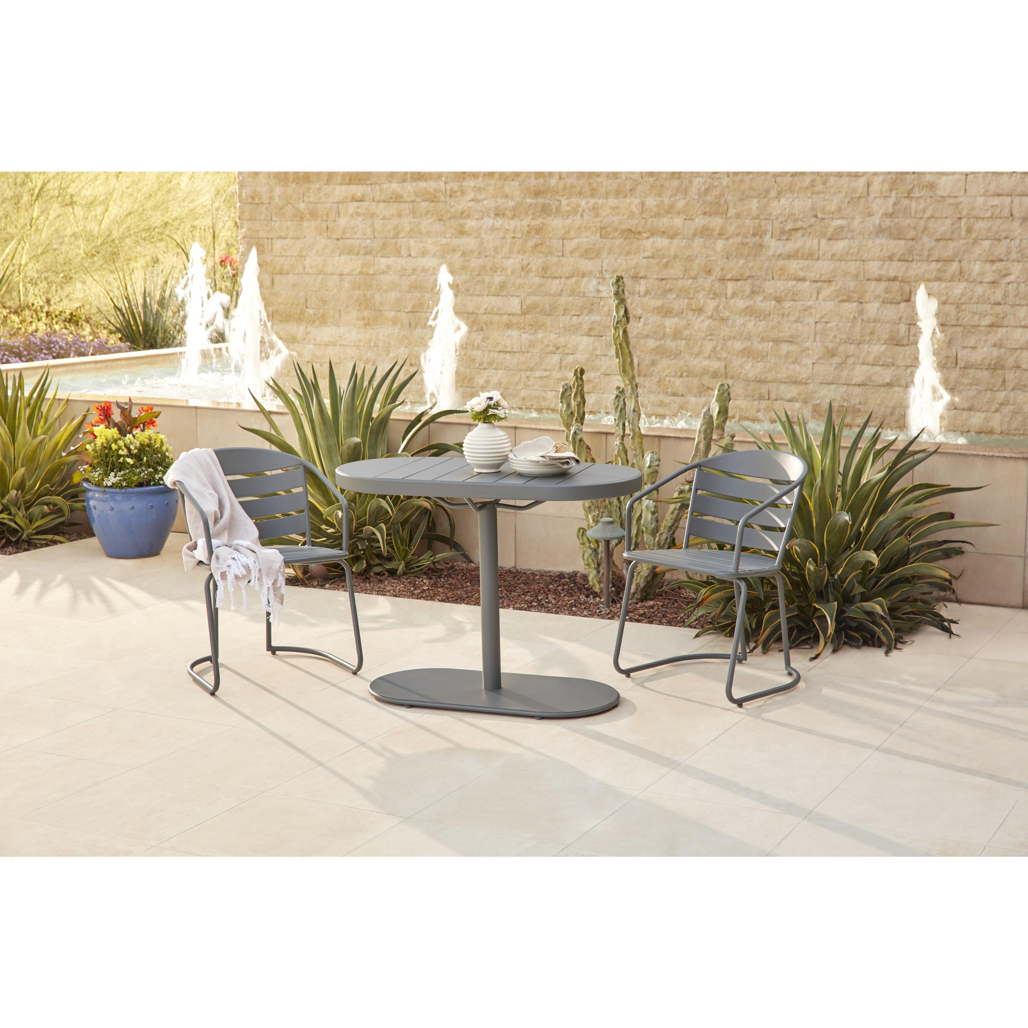 Cosco Grey Outdoor Steel Nesting Bistro Patio Set