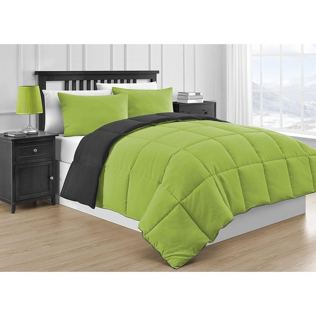 Shop Comfy Bedding Reversible Black Lime Green 3 Piece Comforter