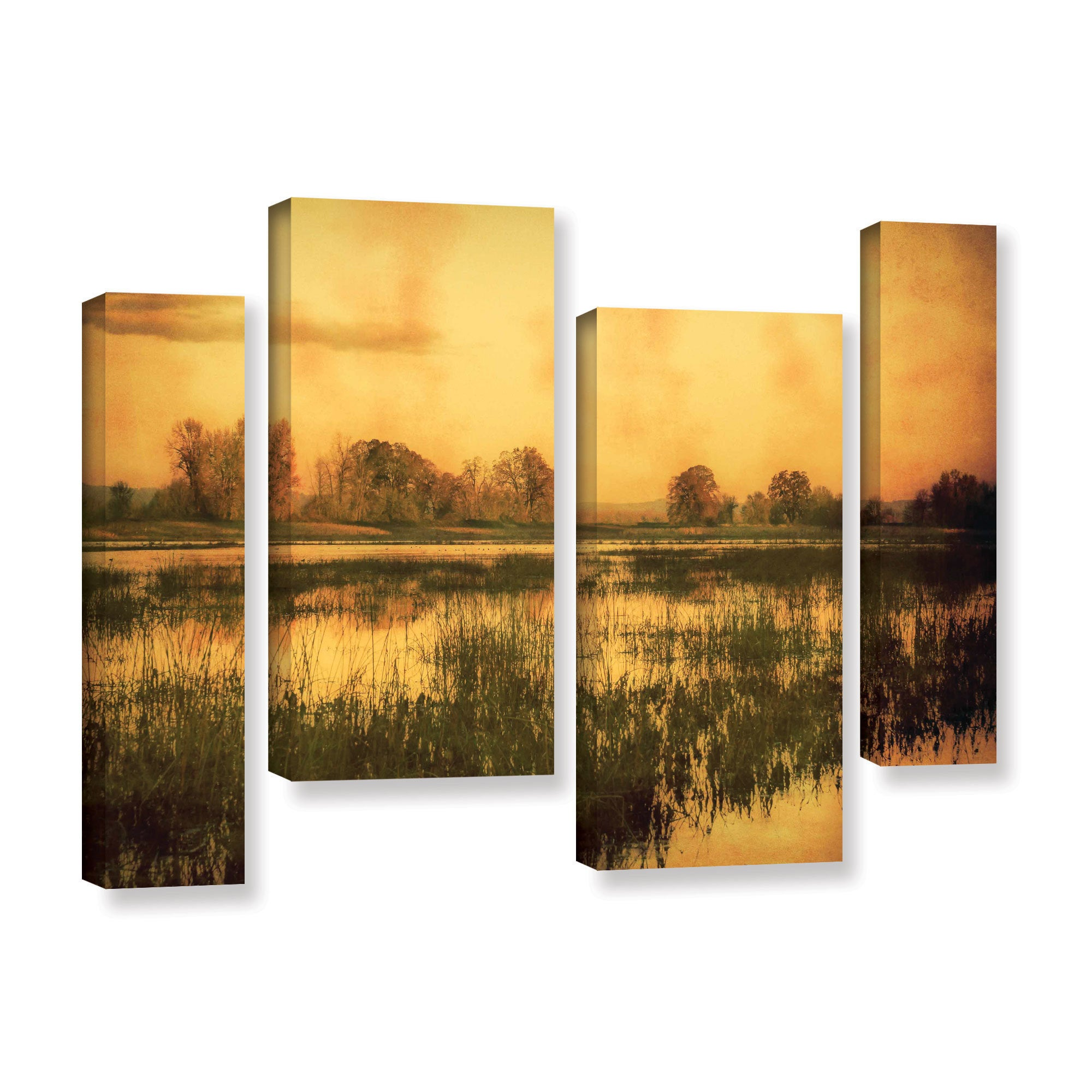 ArtWall Don Schwartz\'s \'Wetlands\' 4-piece Gallery Wrapped Canvas ...