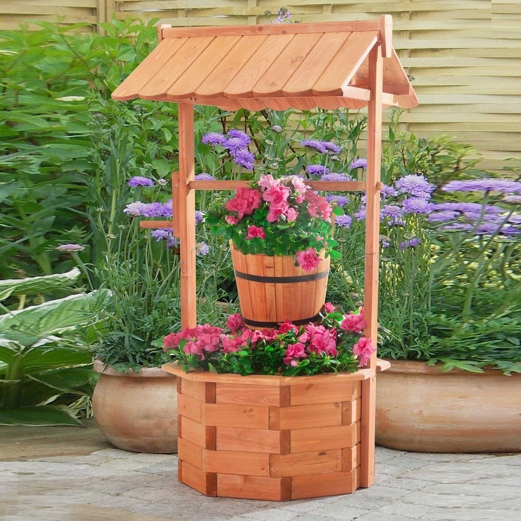 Sunjoy Crowley Wood Wishing Well with Natural Finish - Free Shipping ...