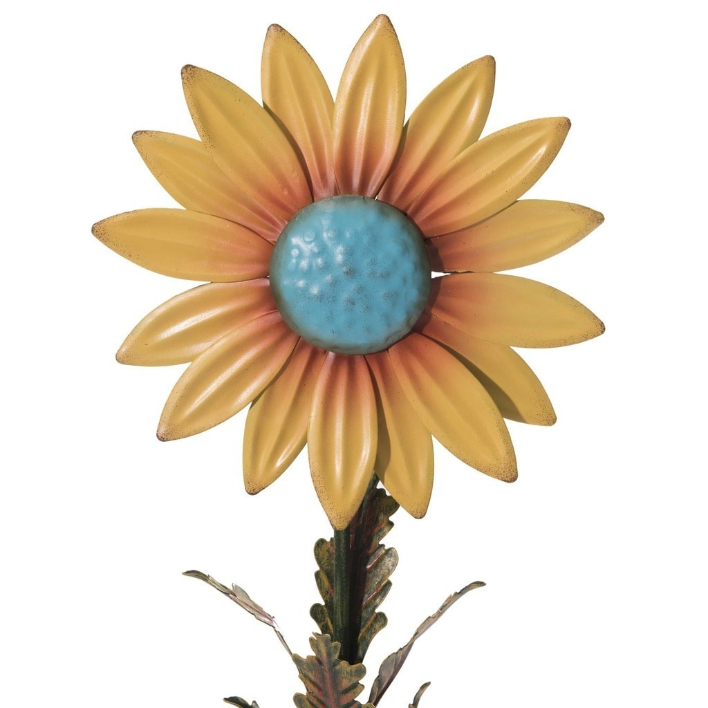 Shop Sunjoy Hand Painted Metal Sunflower Garden Stakes (Set Of 2)   Free  Shipping On Orders Over $45   Overstock.com   11551171