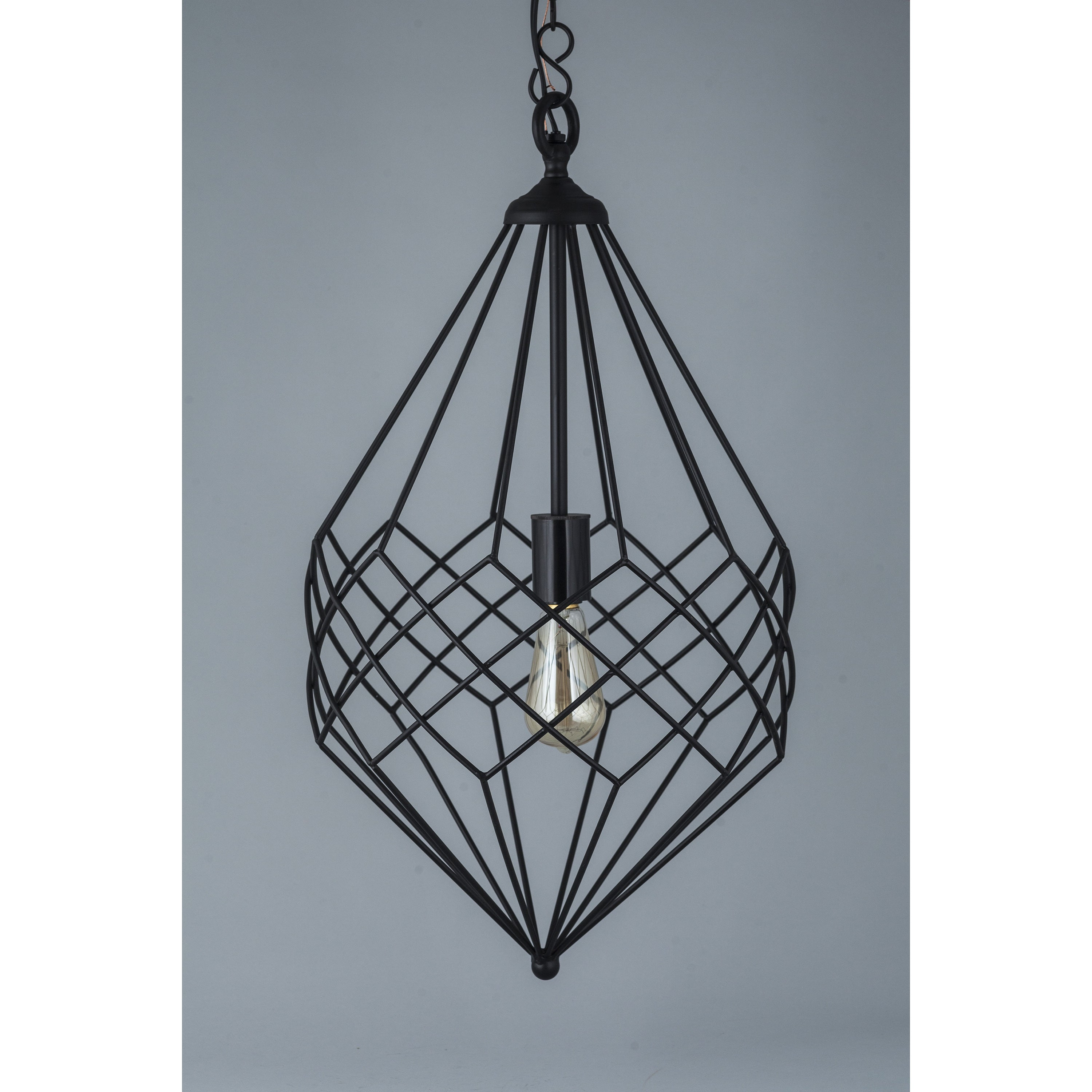 Shop Small Black Metal Wire 1-light Pendant - On Sale - Free ...