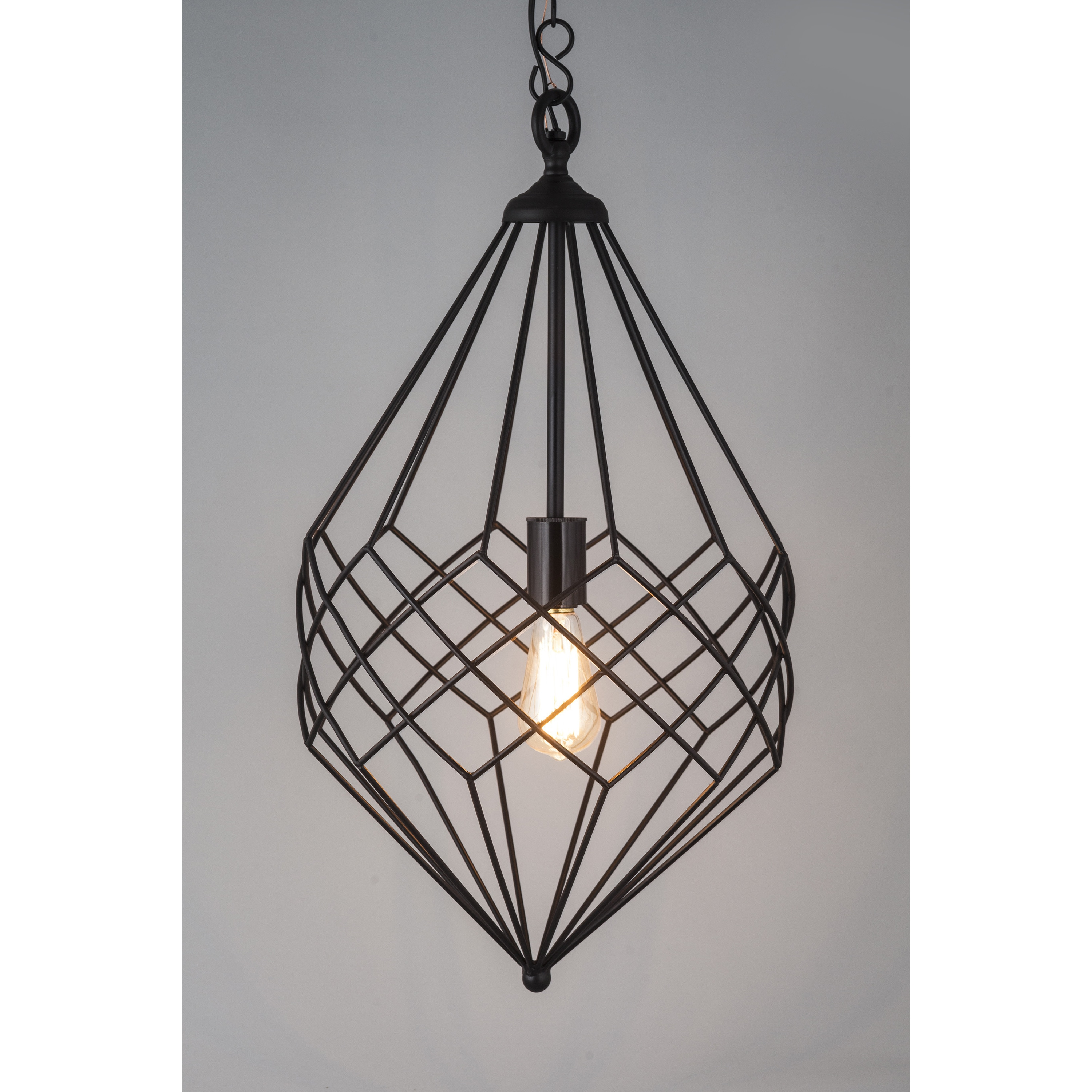Shop Small Black Metal Wire 1-light Pendant - Free Shipping Today ...