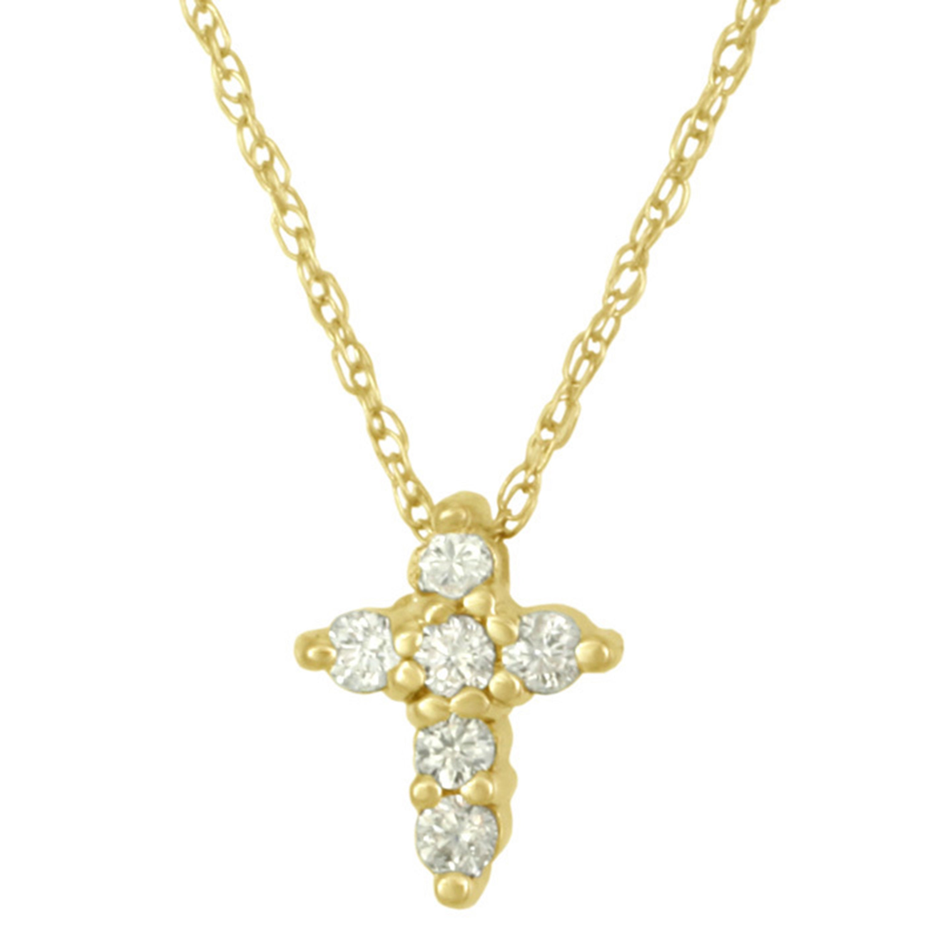 Shop 14k gold diamond cross necklace with round brilliant cut shop 14k gold diamond cross necklace with round brilliant cut diamond accents free shipping today overstock 11551582 aloadofball Image collections