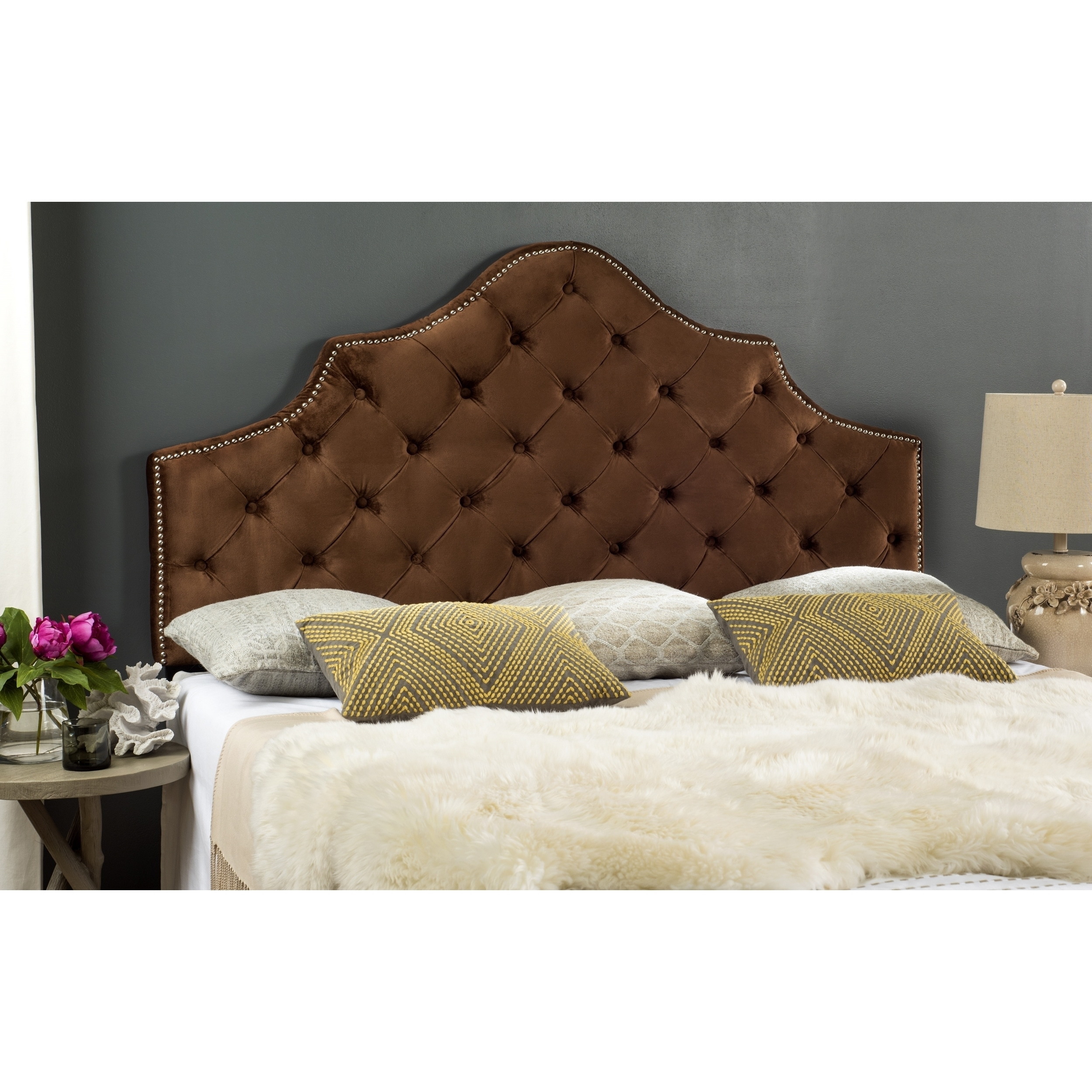 Shop Safavieh Arebelle Chocolate Velvet Upholstered Tufted Headboard ...