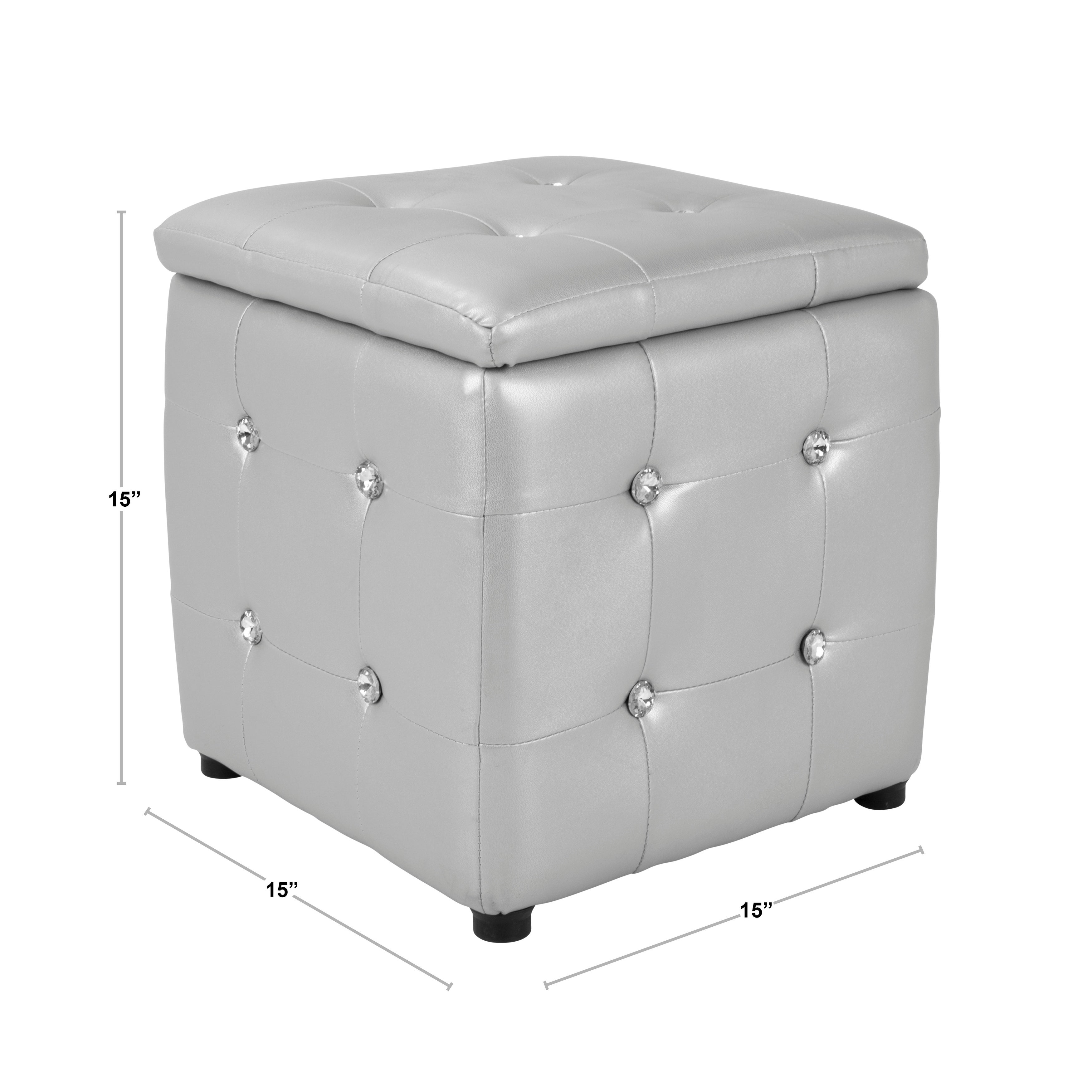 Shop Chic Silver Tufted Cube Storage Ottoman   On Sale   Free Shipping  Today   Overstock.com   11552068