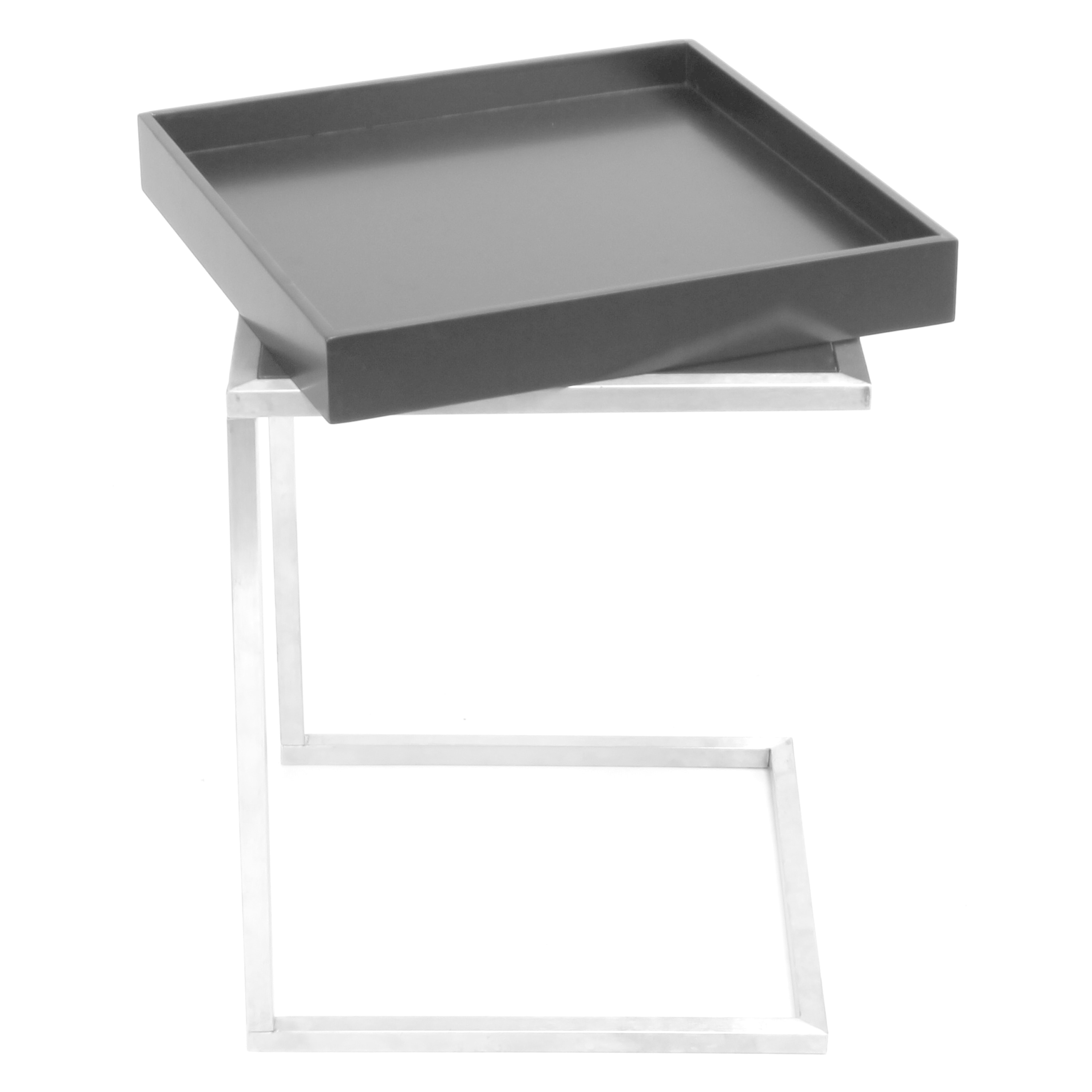 Zenn Contemporary Black And Stainless Steel Tray Table On Free Shipping Today 11552175