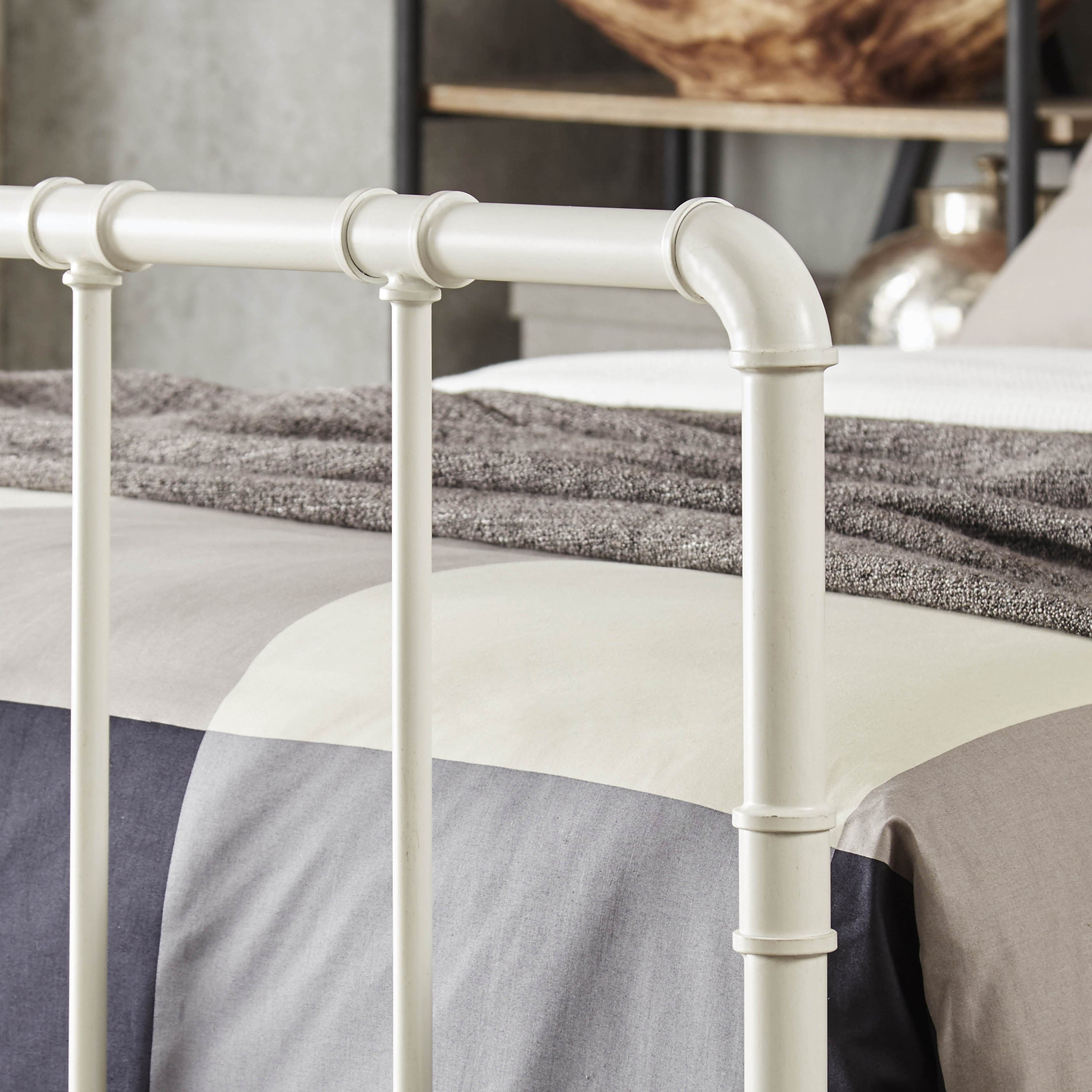 West Antique Industrial Lines Iron King-size Metal Bed by iNSPIRE Q Classic  - Free Shipping Today - Overstock.com - 18496709