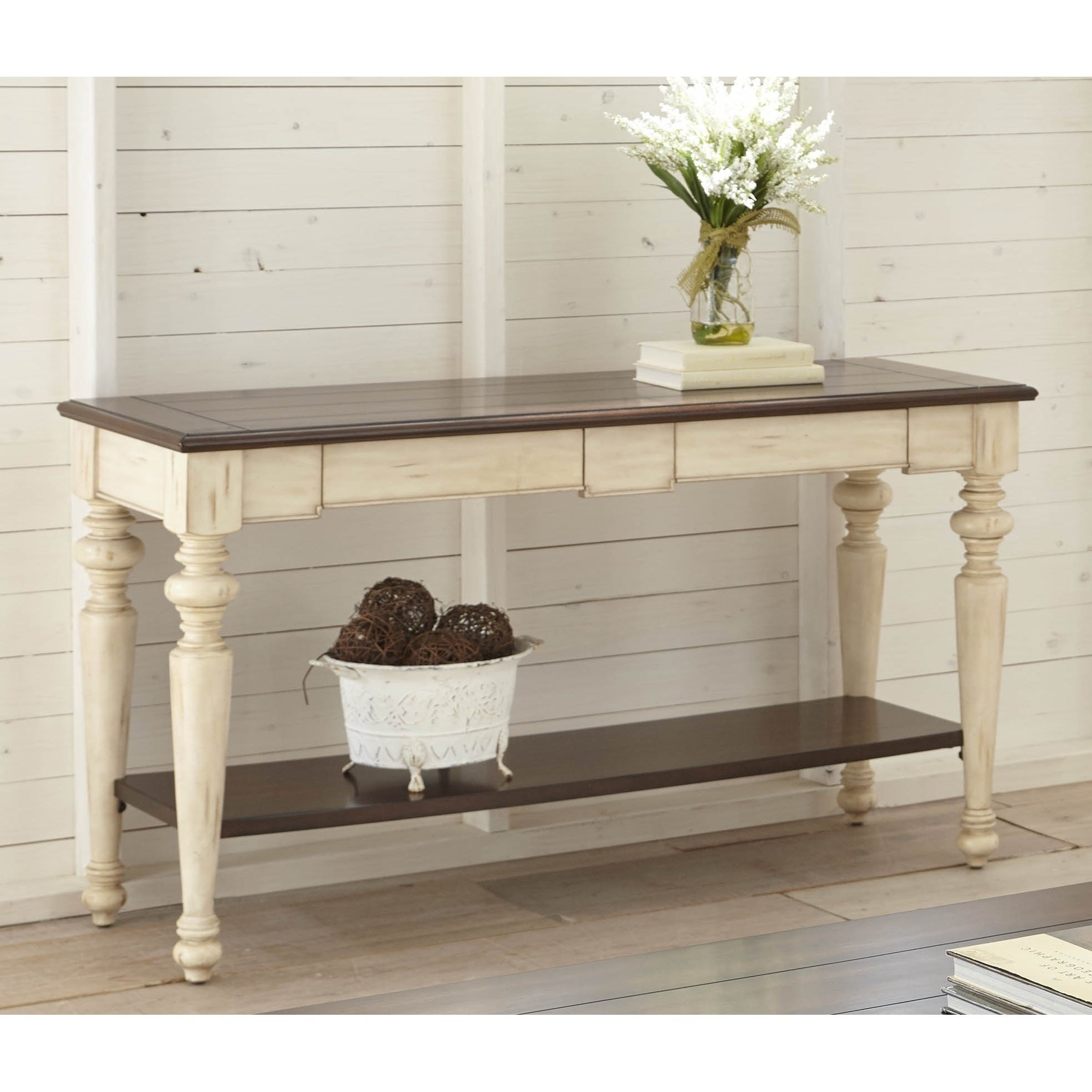 Shop the gray barn willow springs walnut antique white finish wood and veneer sofa table on sale free shipping today overstock com 22751235