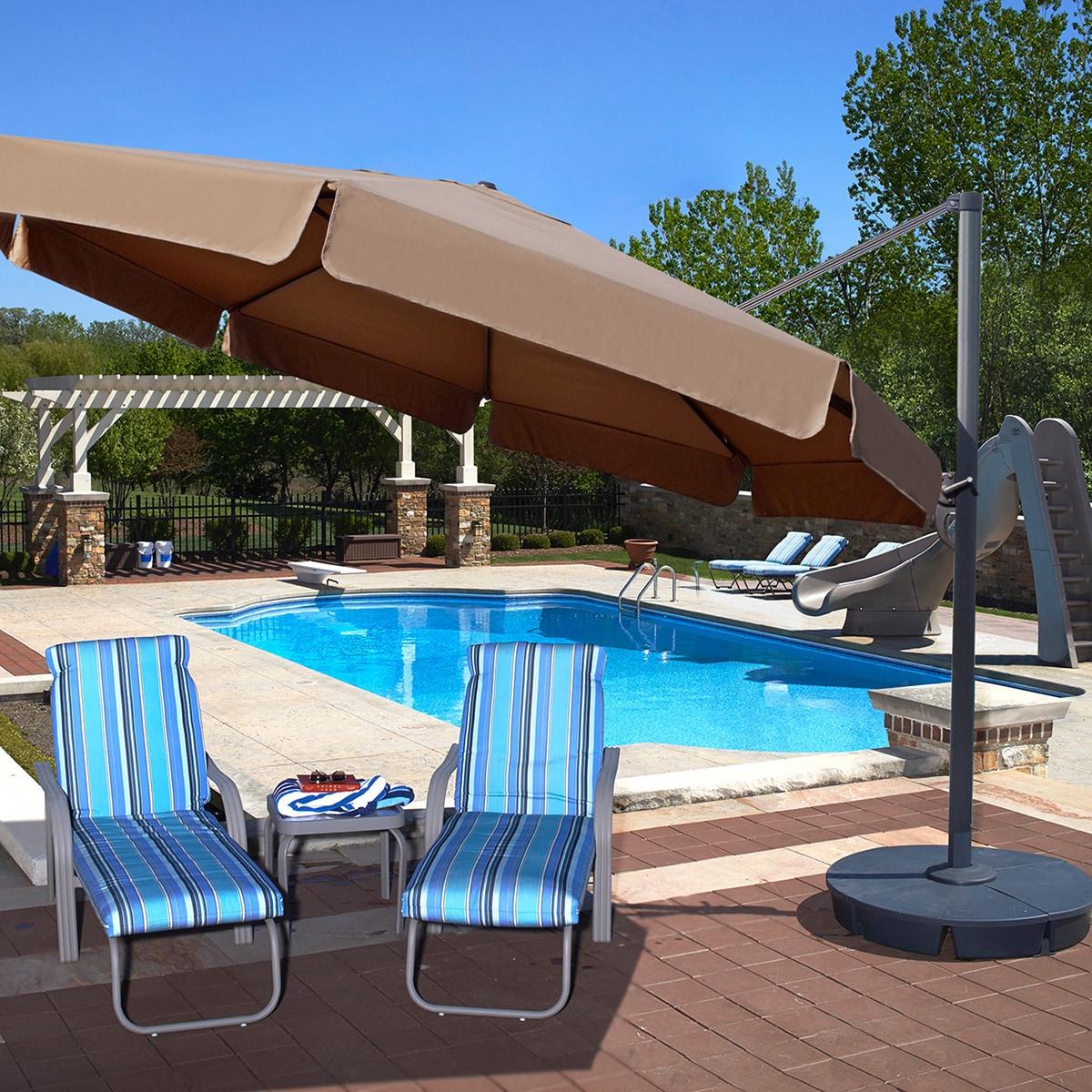 Victoria 13-ft Octagon Cantilever Umbrella with Valance in Sunbrella Acrylic