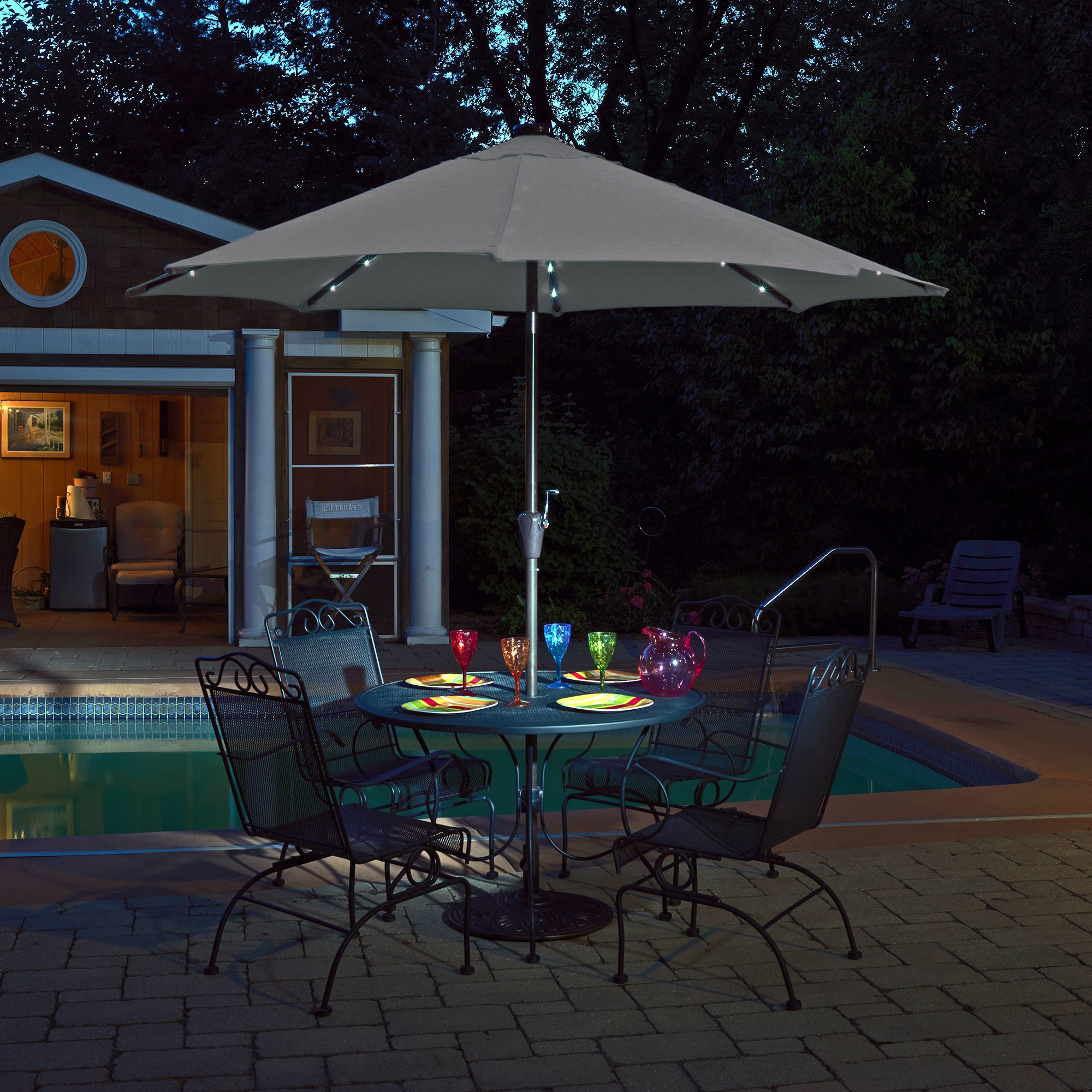Mirage Fiesta 9 ft Market Umbrella with Solar LED in Olefin Free