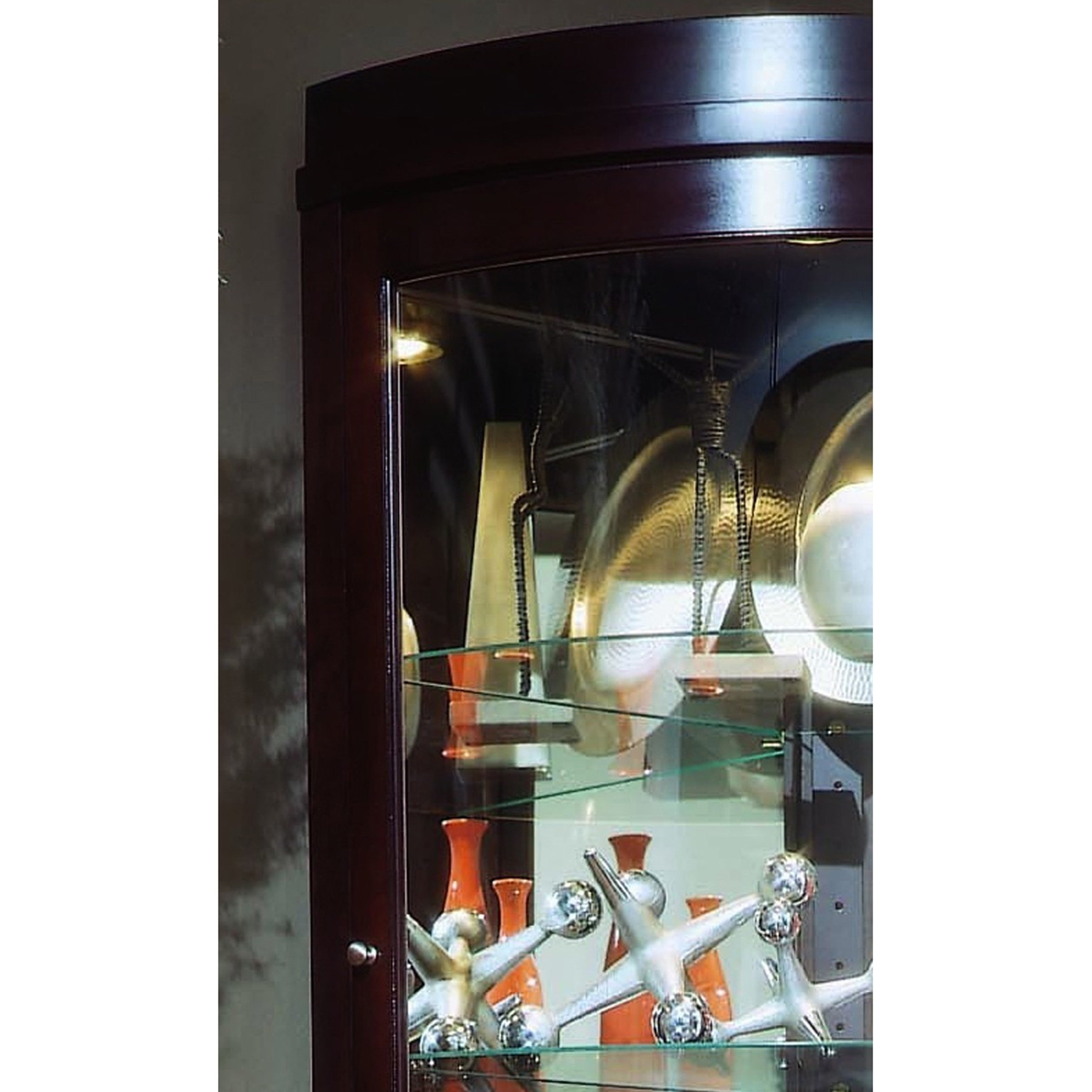 Charmant Shop Chocolate Cherry Curved Front Corner Curio Cabinet   On Sale   Free  Shipping Today   Overstock.com   11582802