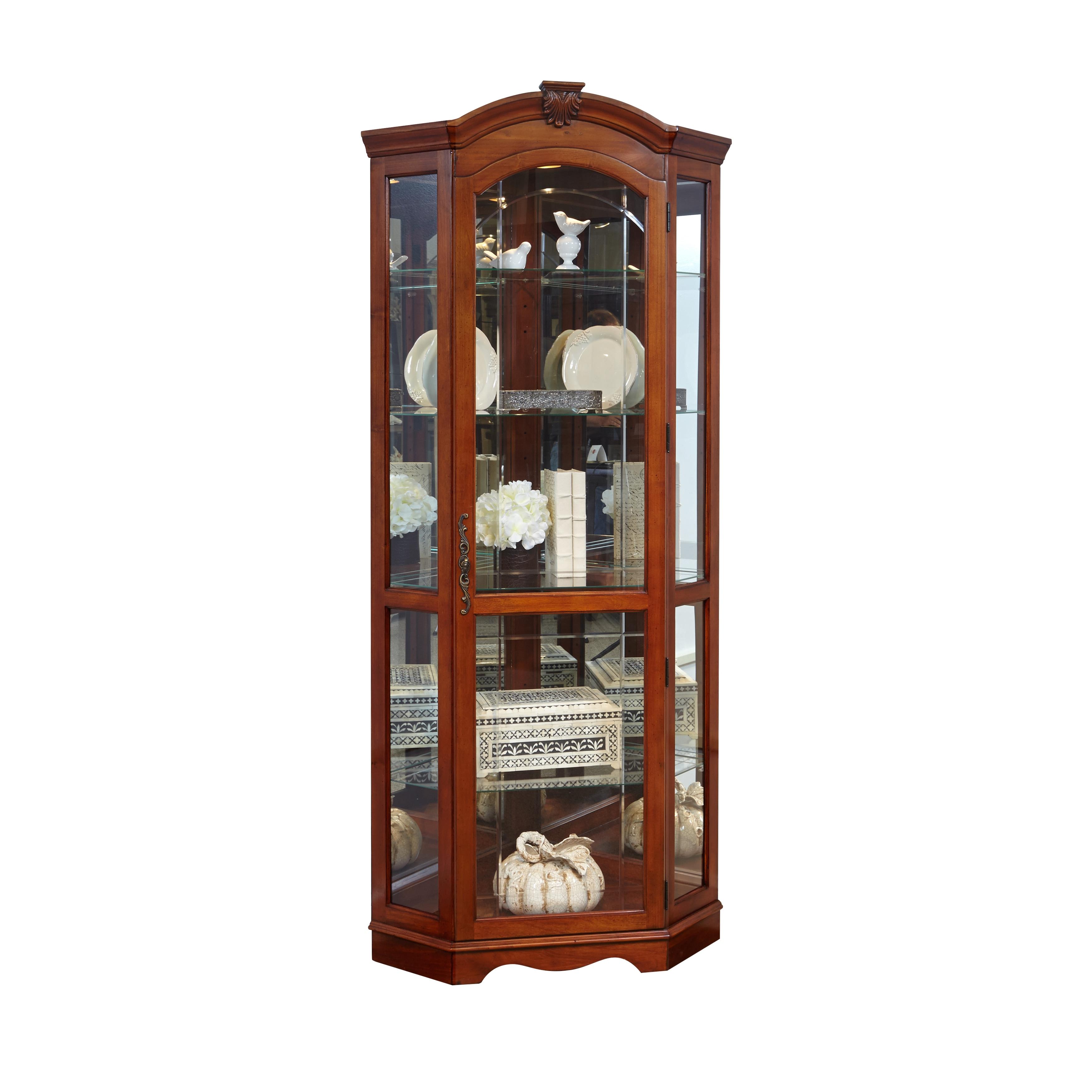 Shop Medallion Cherry Corner Curio Cabinet - On Sale - Free Shipping ...