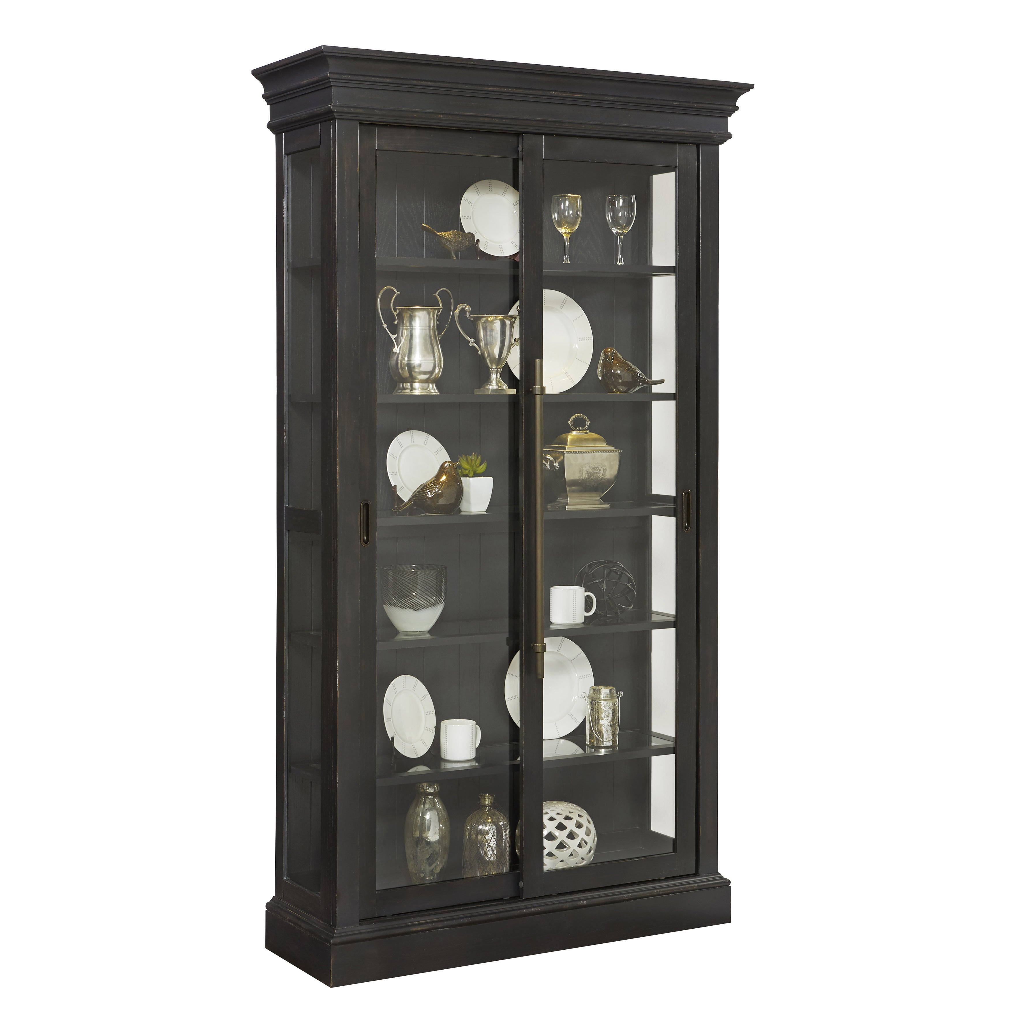 Shop Charcoal Sliding Door Curio Cabinet Free Shipping Today