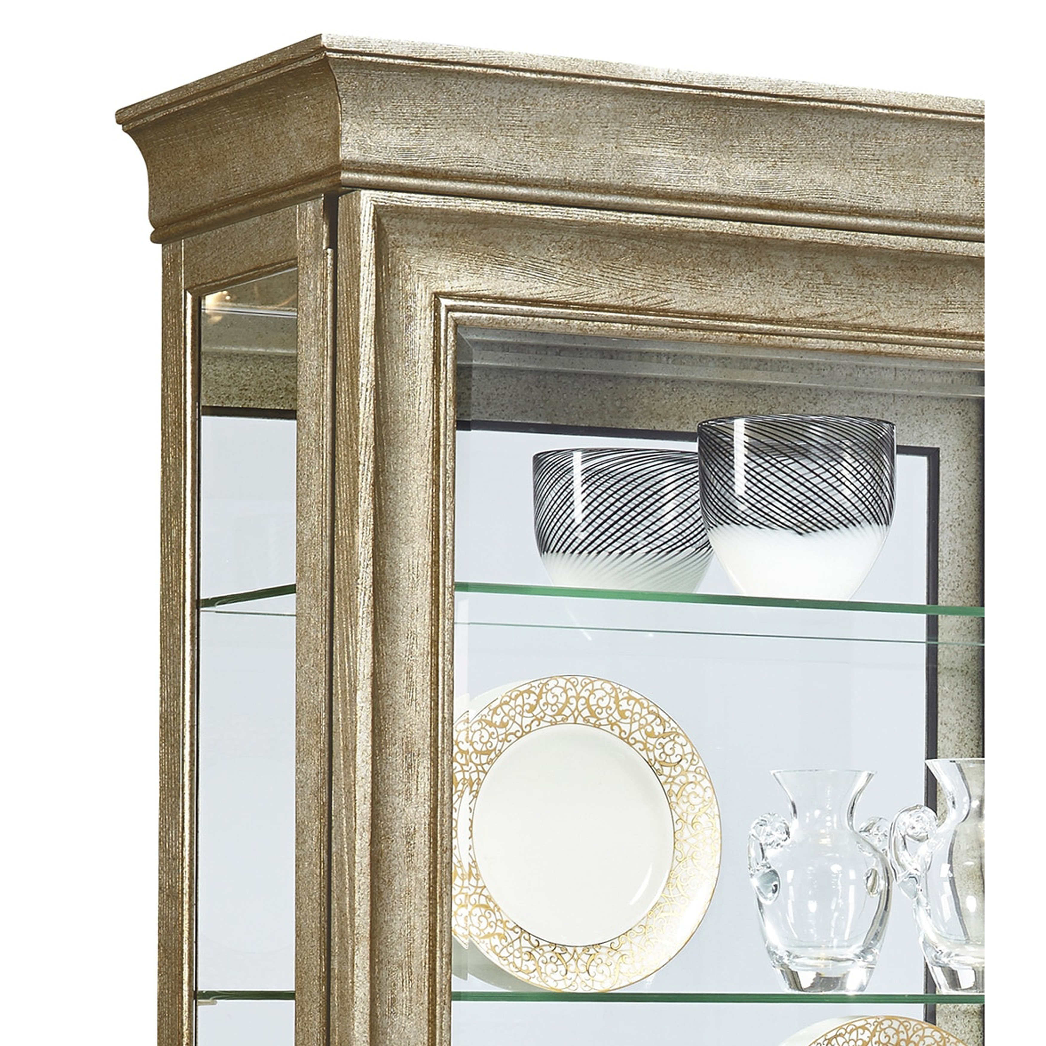 Shop Aged Silver Finish Two Way Slider Curio Cabinet With Sliver Gold  Finish   On Sale   Free Shipping Today   Overstock.com   11582844