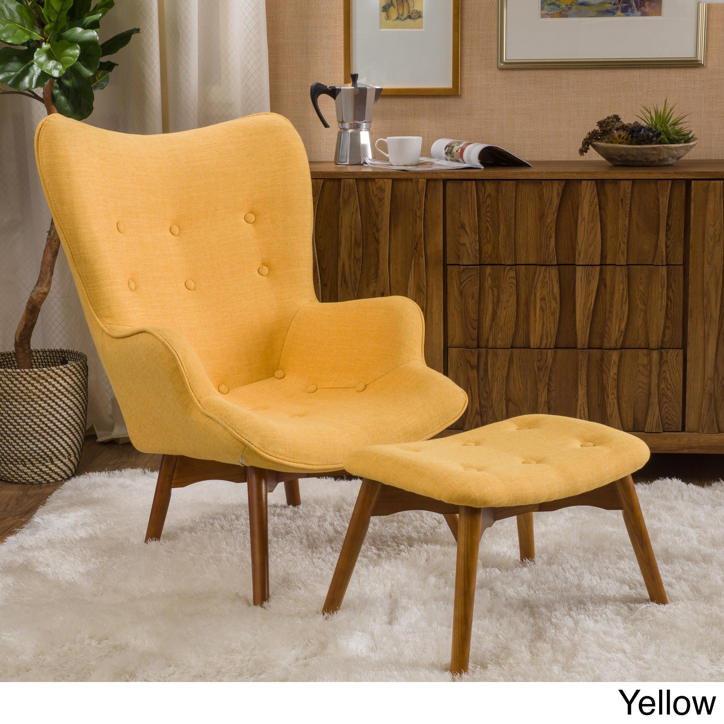 Hariata Fabric Contour Chair with Ottoman Set