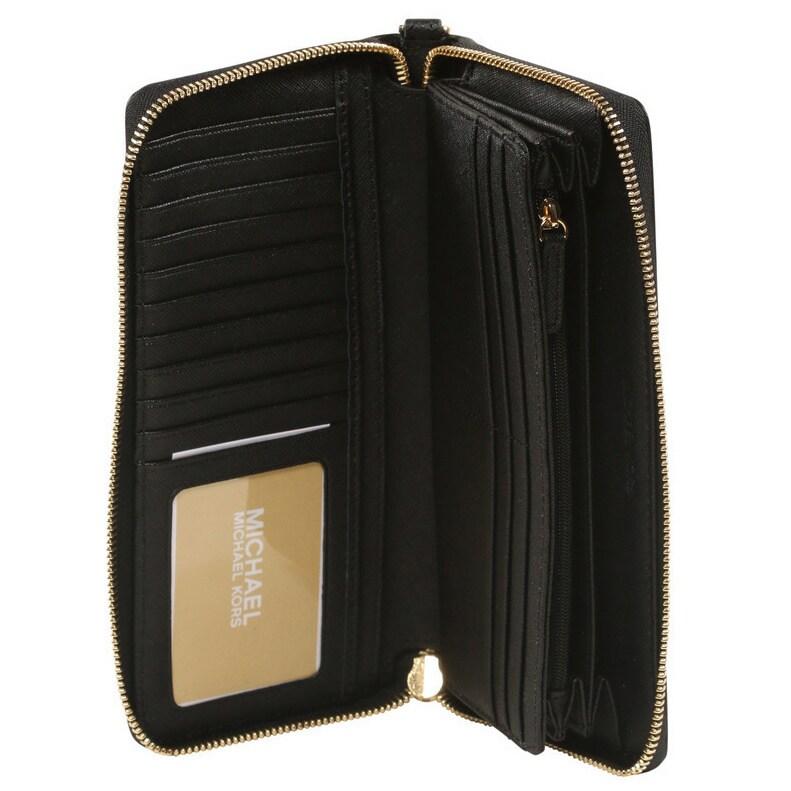 619efa6de7b7 Shop Michael Kors Jet Set Black Travel Continental Wallet - Free Shipping  Today - Overstock - 11583288