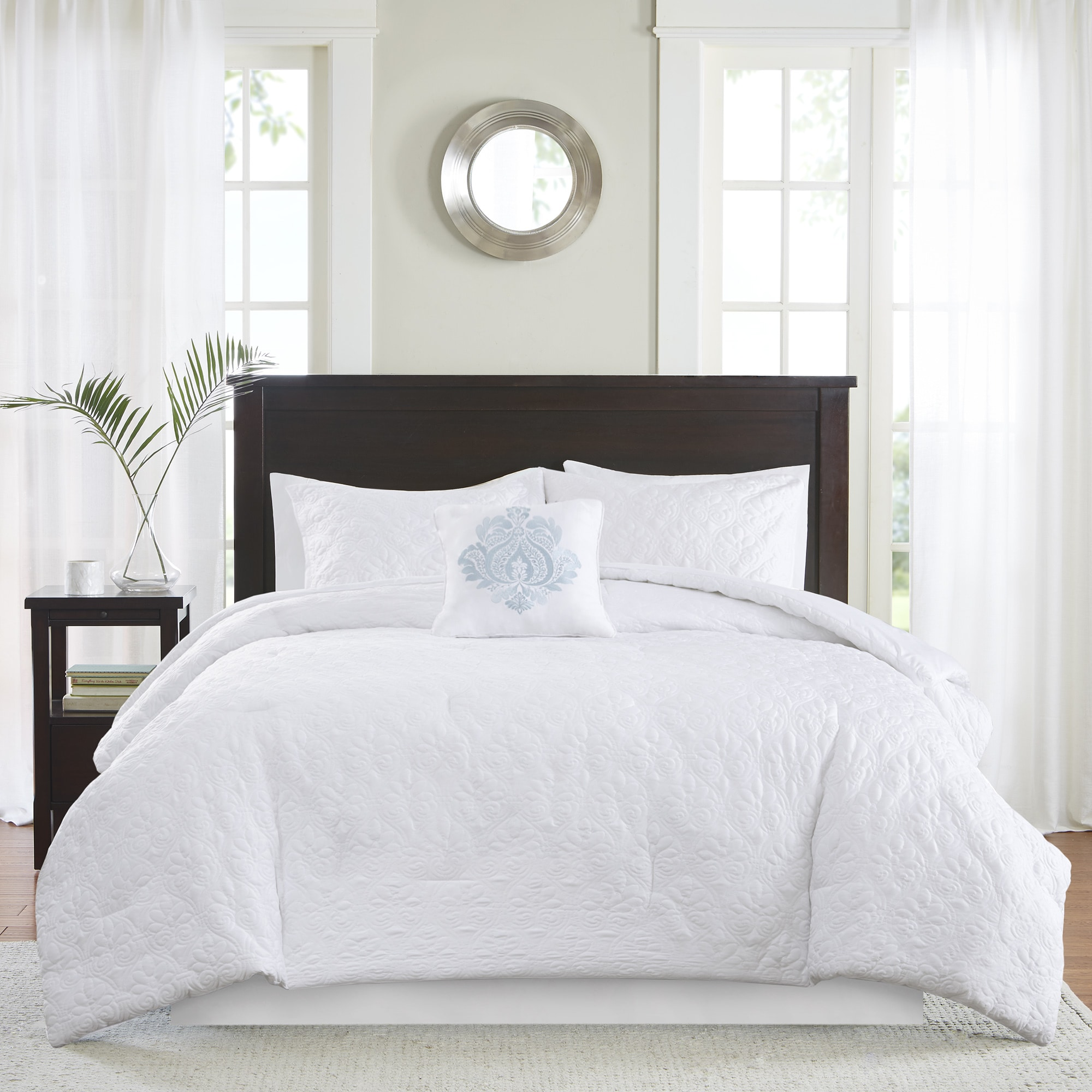 madison park mansfield quilted white comforter set  free shipping  - madison park mansfield quilted white comforter set  free shipping today overstockcom