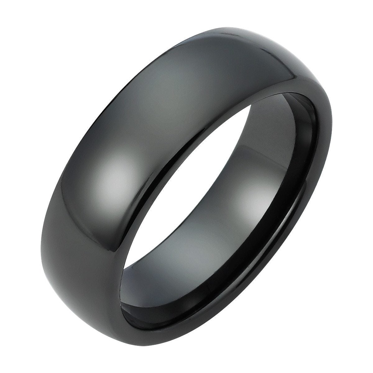 Boston Bay Diamonds Mens 7MM Comfort Fit Black Ceramic Wedding Band