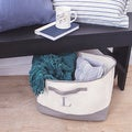 Personalized Grey Canvas Square Storage Bin