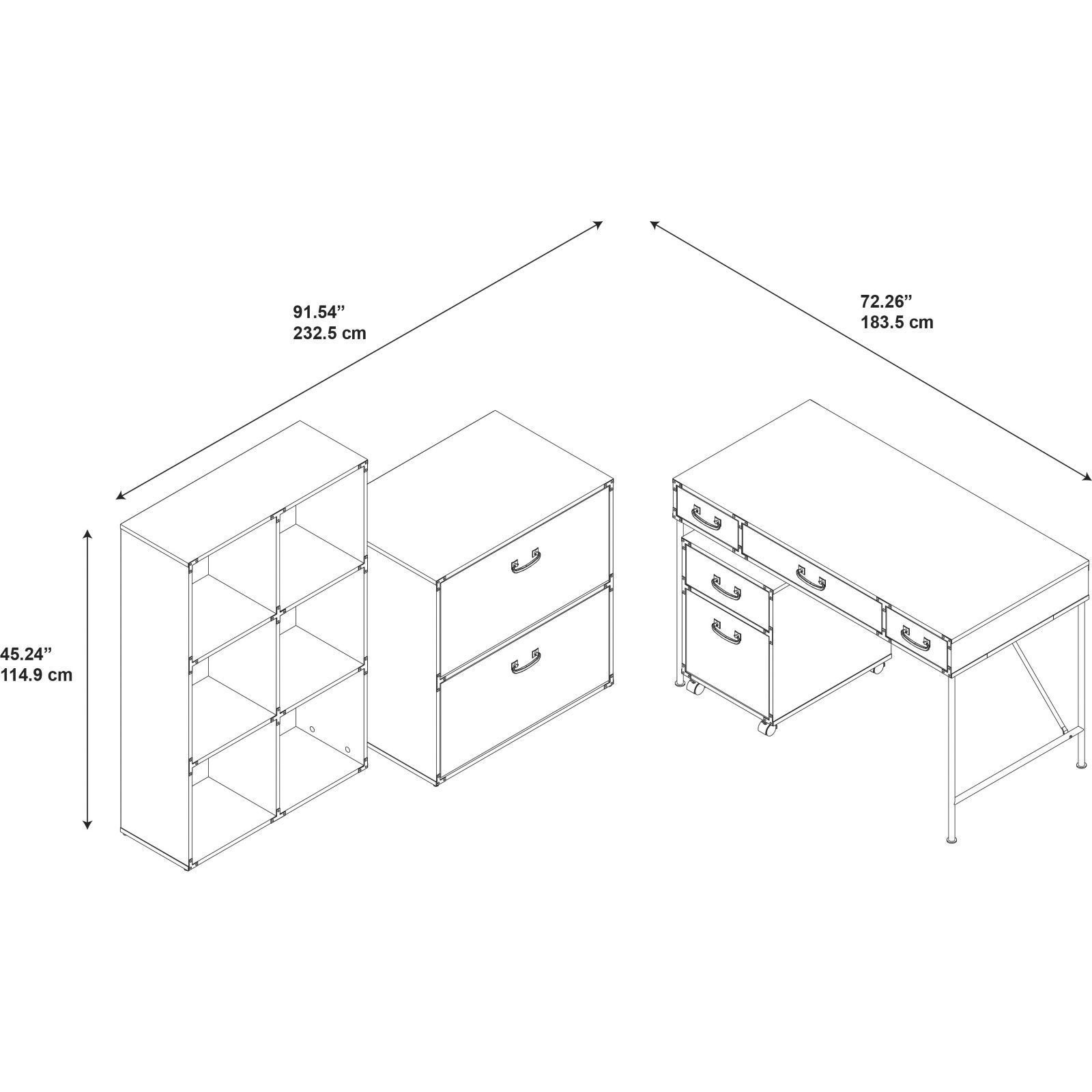 Shop Kathy Ireland Office Ironworks 48w Writing Desk 2 Drawer Pro Parts Diagram In Addition Dyson Dc33 As Well Rug Mobile Pedestal 6 Cube Bookcase And Lateral File Cabinet Free Shipping Today