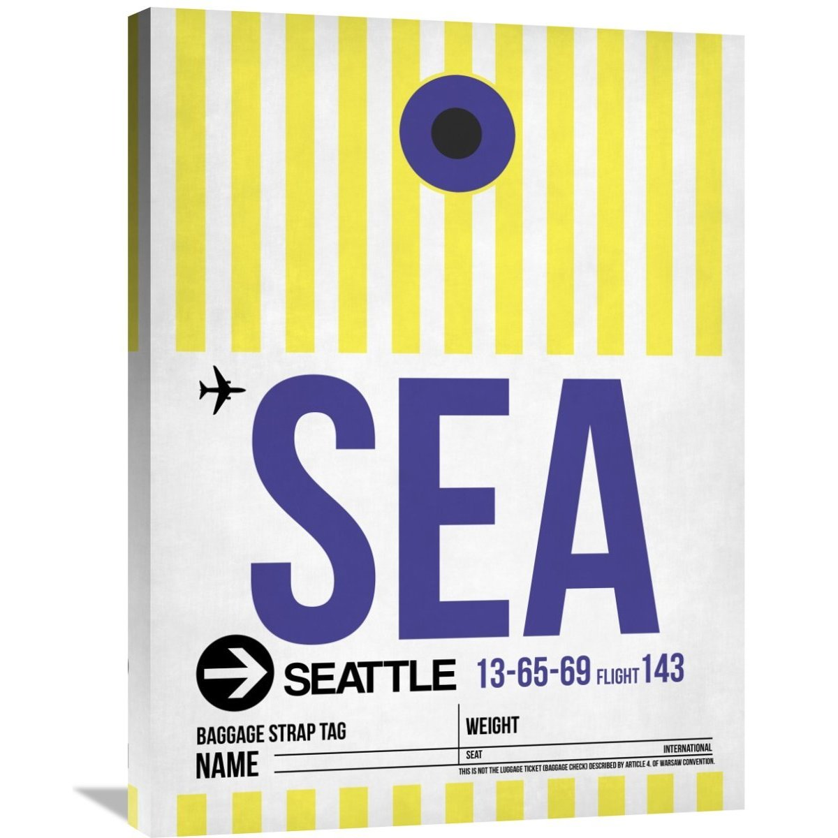 Naxart Studio \'SEA Seattle Luggage Tag 1\' Stretched Canvas Wall Art ...