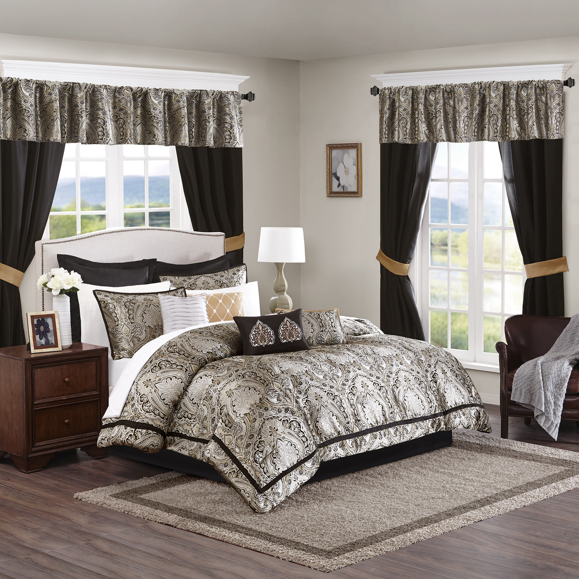 a41a2ded792 Shop Madison Park Essentials Christine Black 24-Piece Room in a Bag-Window  Panels   Sheet Set Included - On Sale - Ships To Canada - Overstock.ca -  11589212