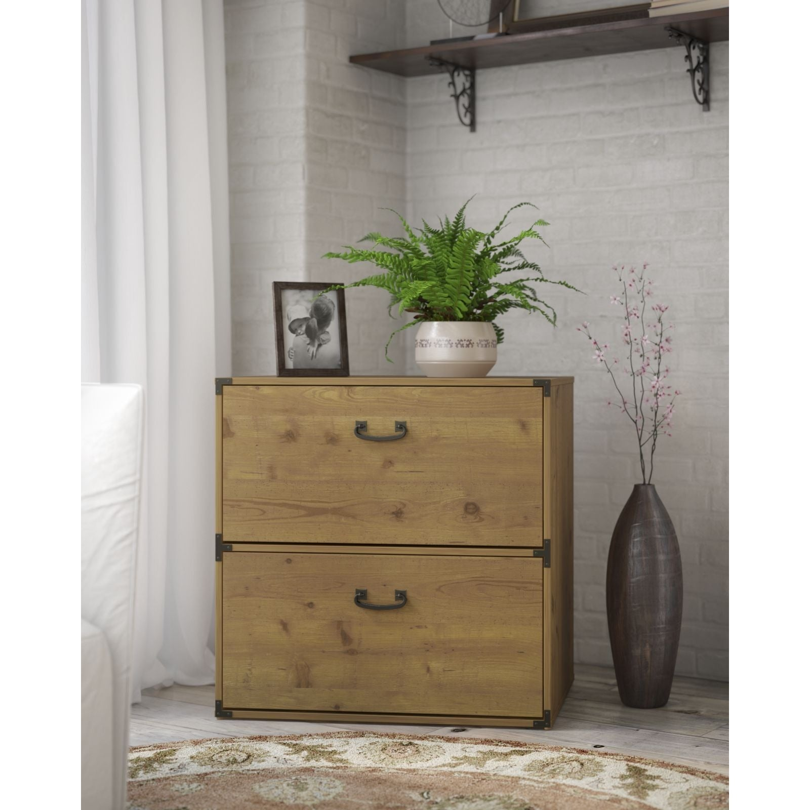 Shop kathy ireland office ironworks vintage golden pine lateral file cabinet free shipping today overstock com 11589800