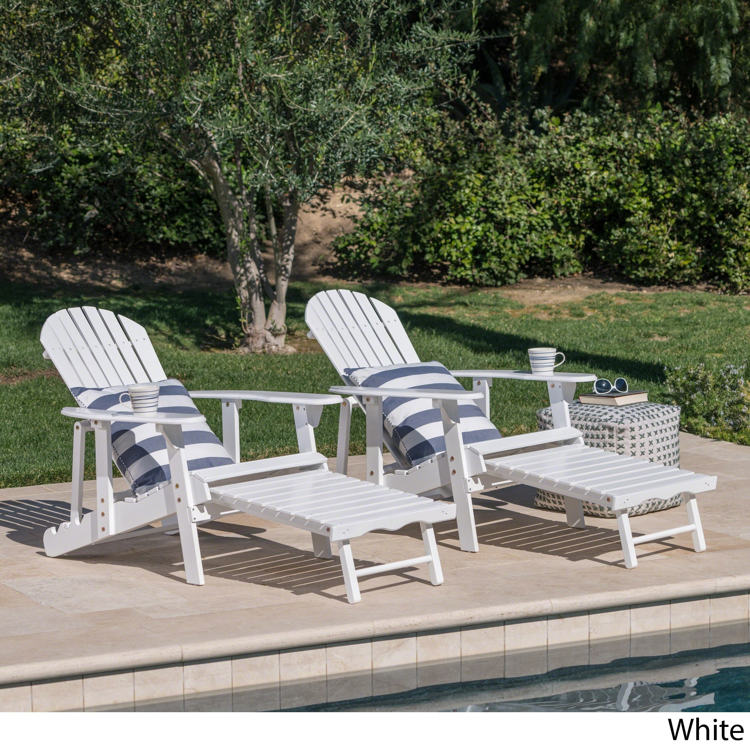 Merveilleux Shop Hayle Outdoor Reclining Wood Adirondack Chair With Footrest (Set Of 2)  By Christopher Knight Home   On Sale   Free Shipping Today   Overstock.com    ...