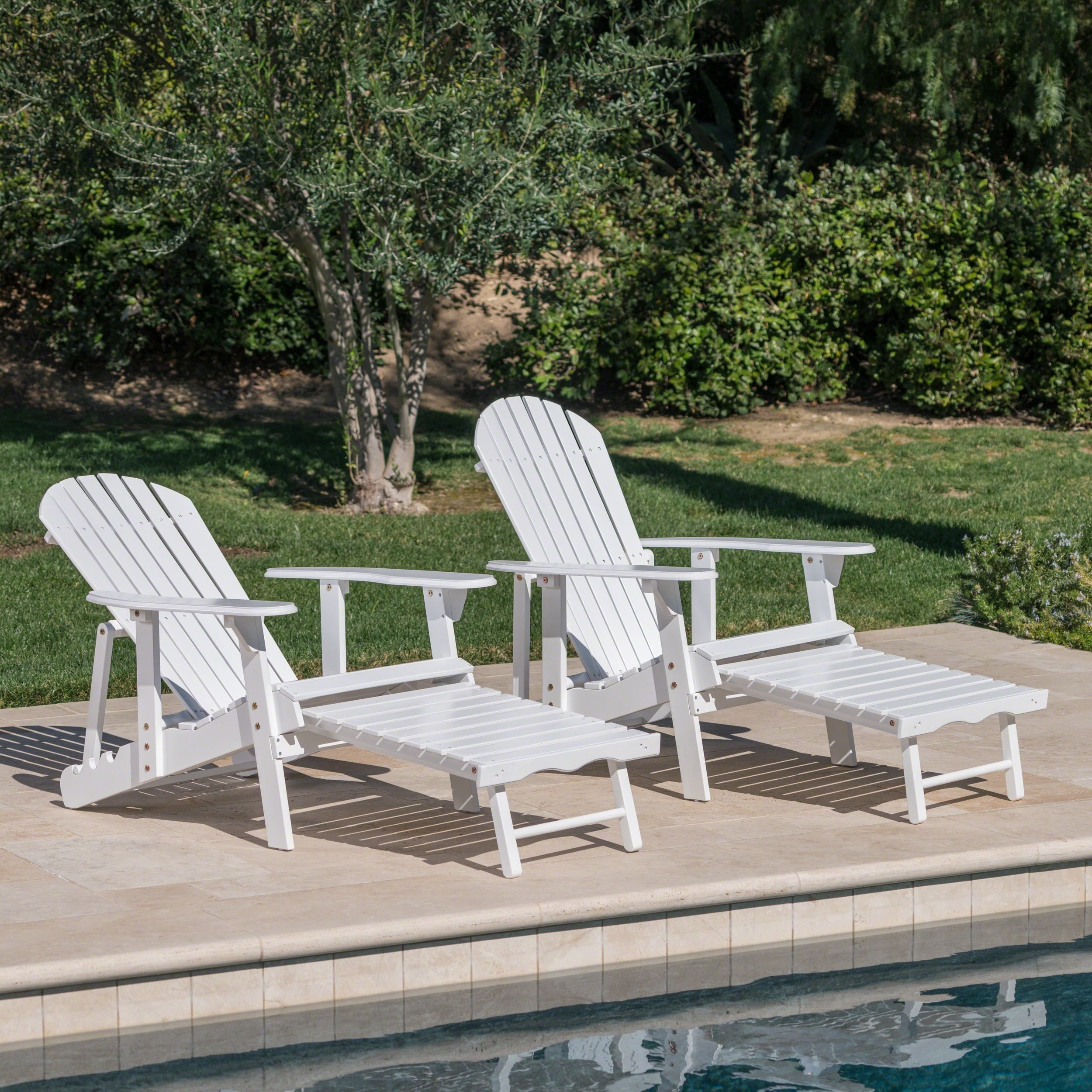 Hayle Outdoor Reclining Wood Adirondack Chair With Footrest Set Of 2 By Christopher Knight Home