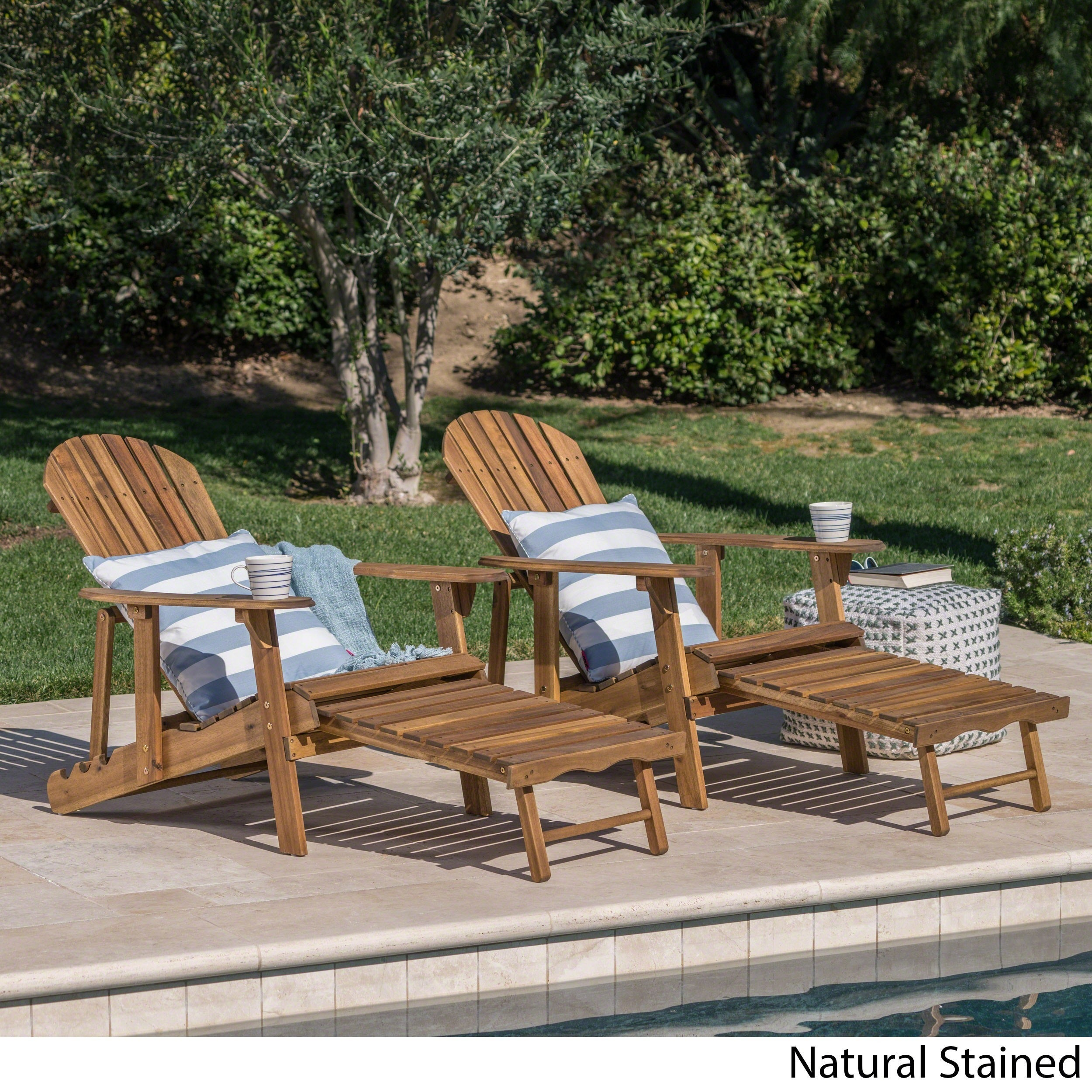 Shop Hayle Outdoor Reclining Wood Adirondack Chair With Footrest (Set Of 2)  By Christopher Knight Home   On Sale   Free Shipping Today   Overstock.com    ...
