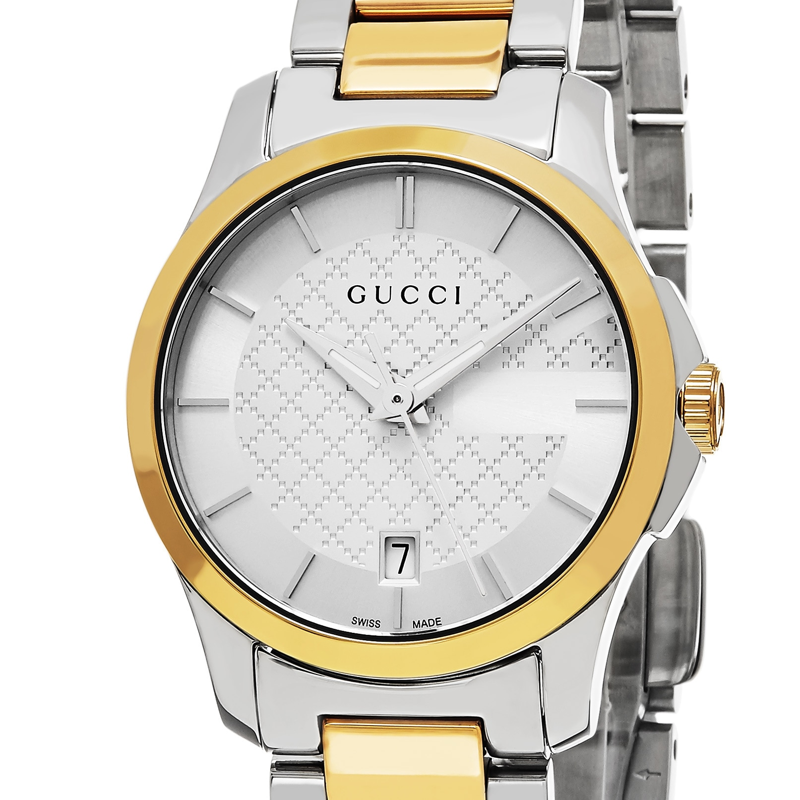 46069aa207c Shop Gucci Women s  Timeless  Silver Dial Two Tone Stainless Steel Swiss  Quartz Watch - Free Shipping Today - Overstock - 11590802
