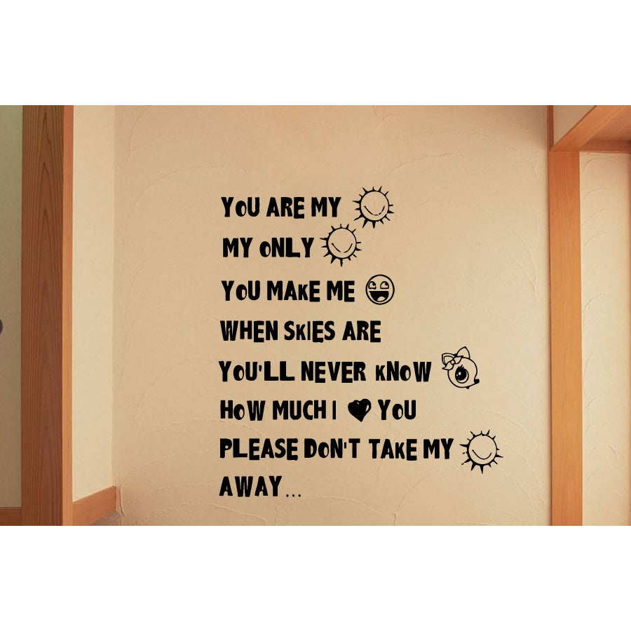 Shop Funny phrase You Are My Sunshine Wall Art Sticker Decal - Free ...