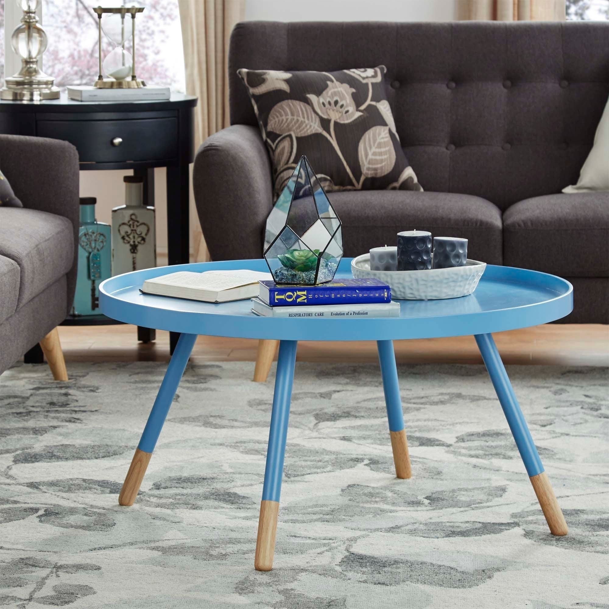 Shop Marcella Paint-dipped Round Spindle Tray Top Coffee Table ...