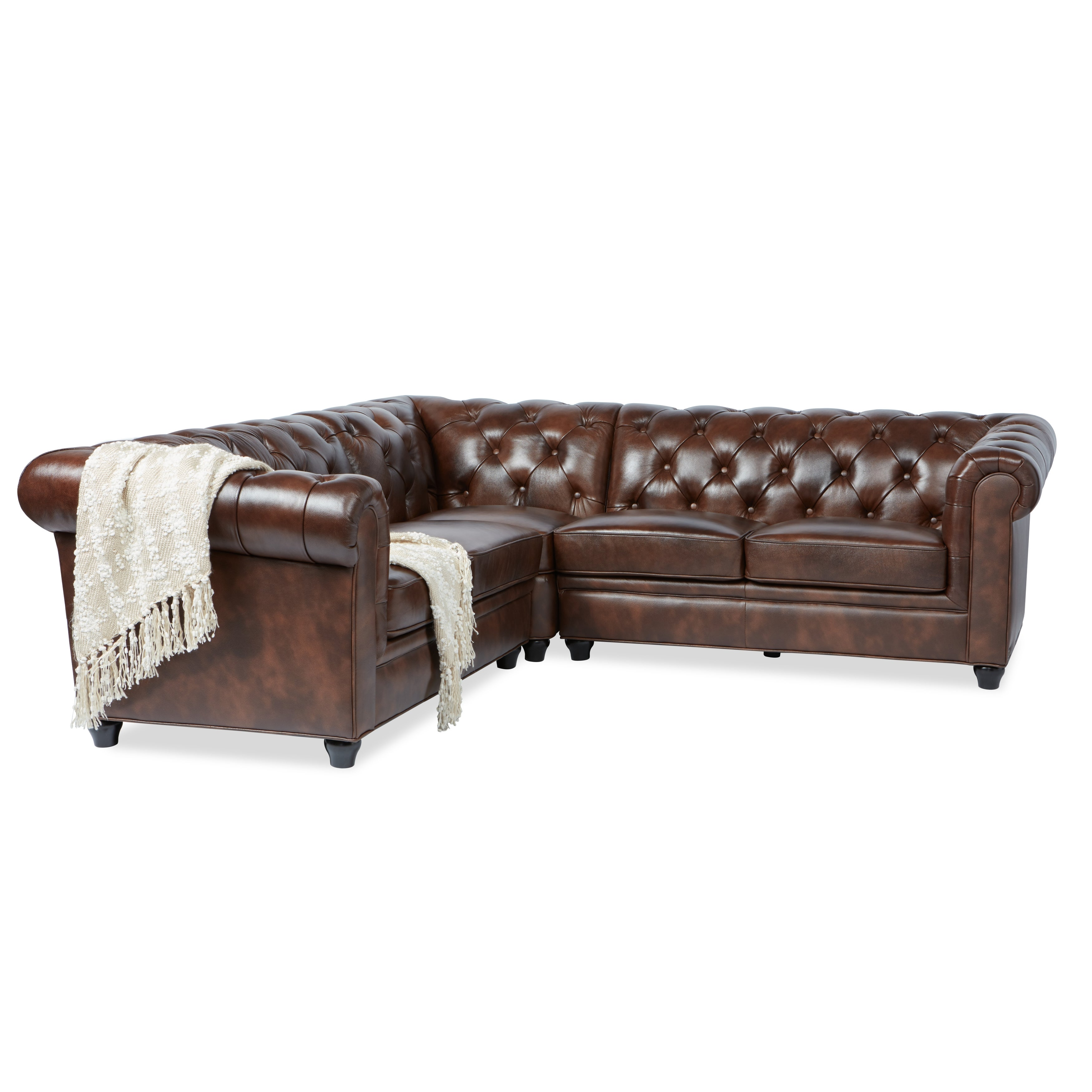 Shop Abbyson Tuscan Tufted Top Grain Leather Piece Sectional Sofa On Sale  Free Shipping Today Jpg