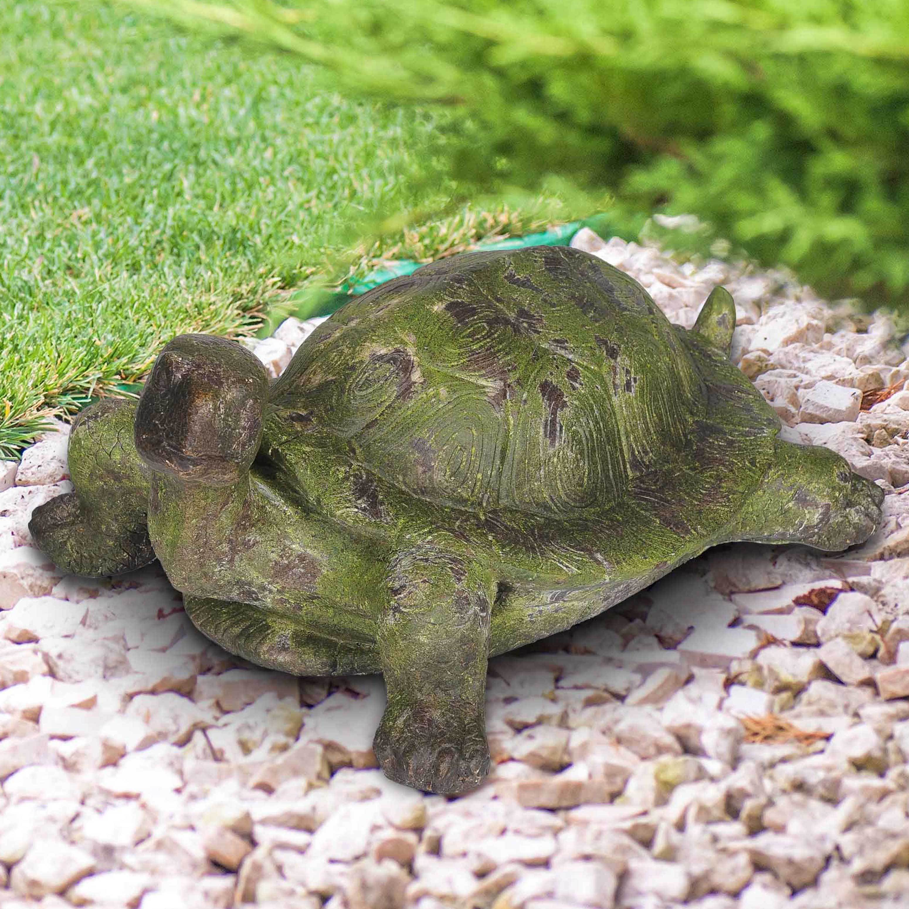 Sunjoy Large Garden Tortoise Statue, Resin with Rustic Green Finish ...