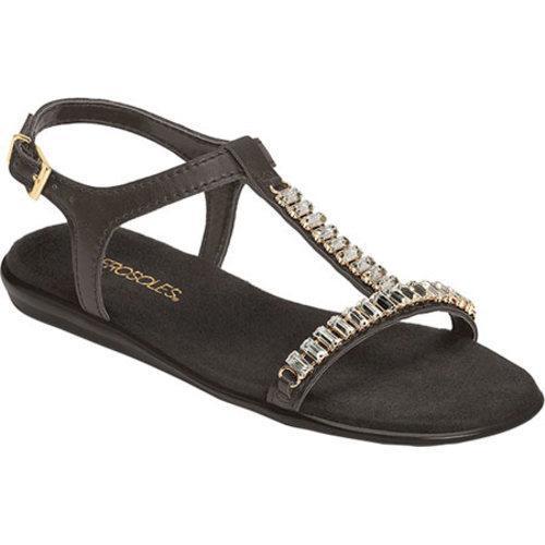 Women's Aerosoles Chronichle T Strap Sandal Black Faux Leather