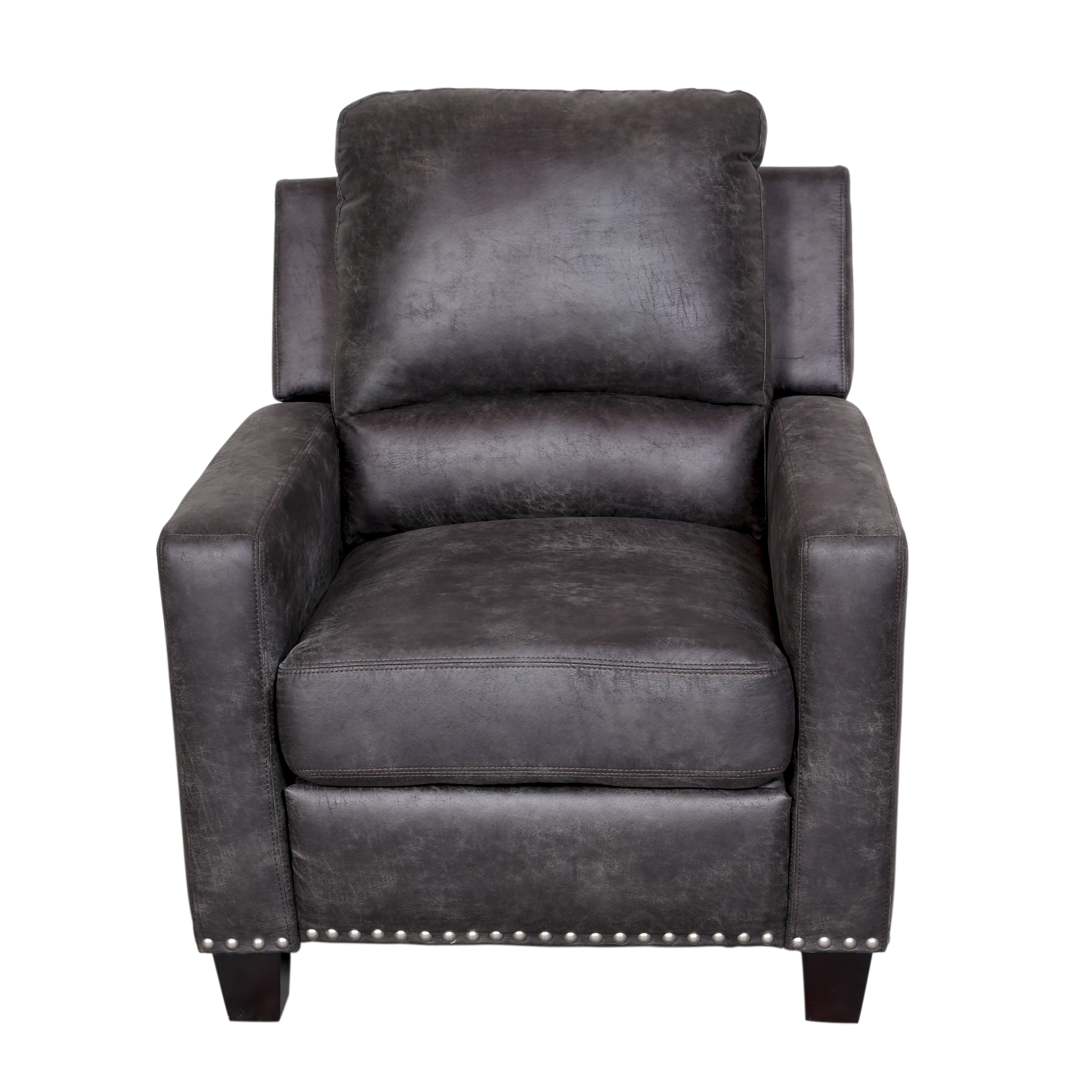 Exceptionnel Shop Porter Grayson Soft Leatherlike Grey Microfiber Reclining Chair With  Silver Nail Head Trim   Free Shipping Today   Overstock.com   11600105