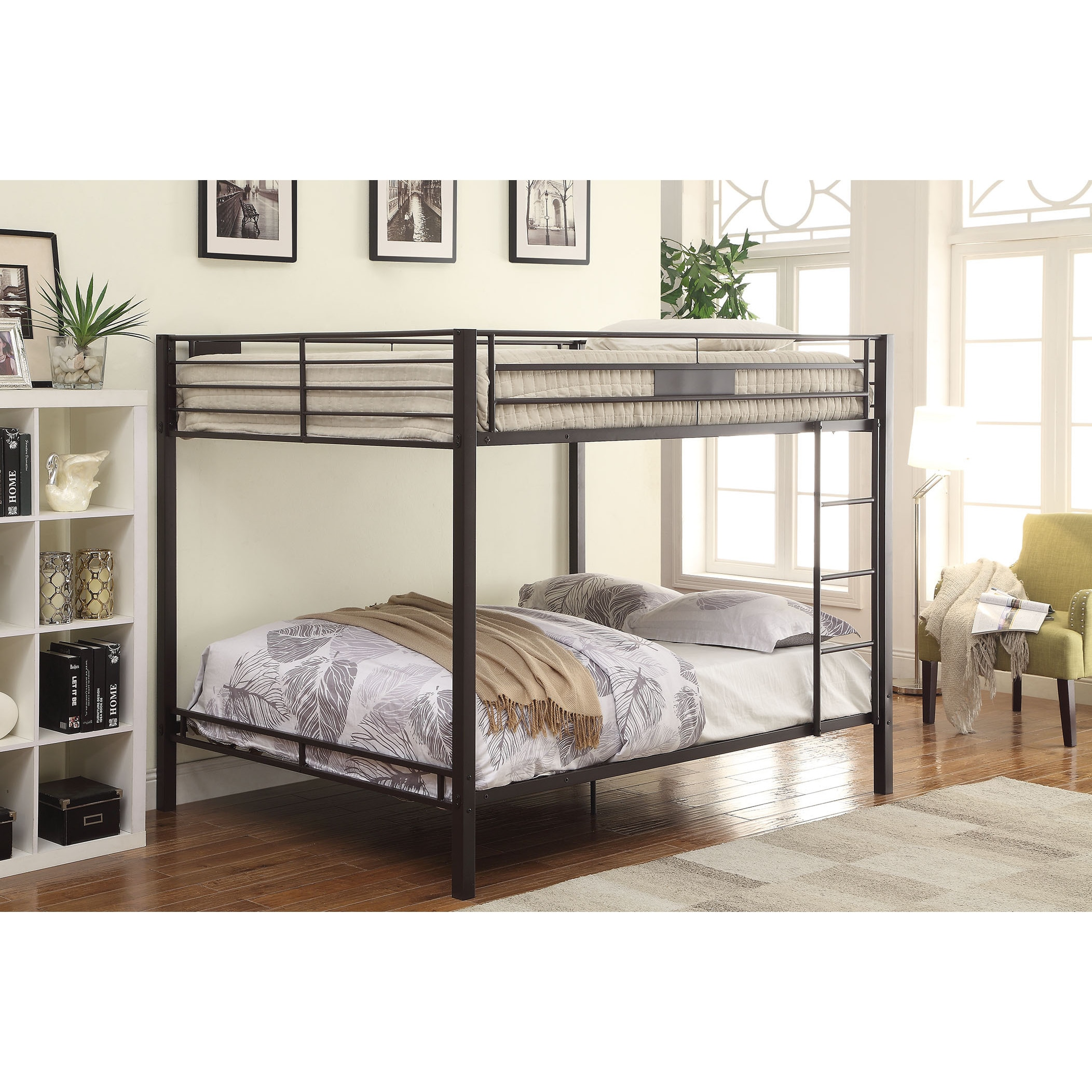 Shop Kaleb Black Sand Finish Queen Bunk Bed - Free Shipping Today ...