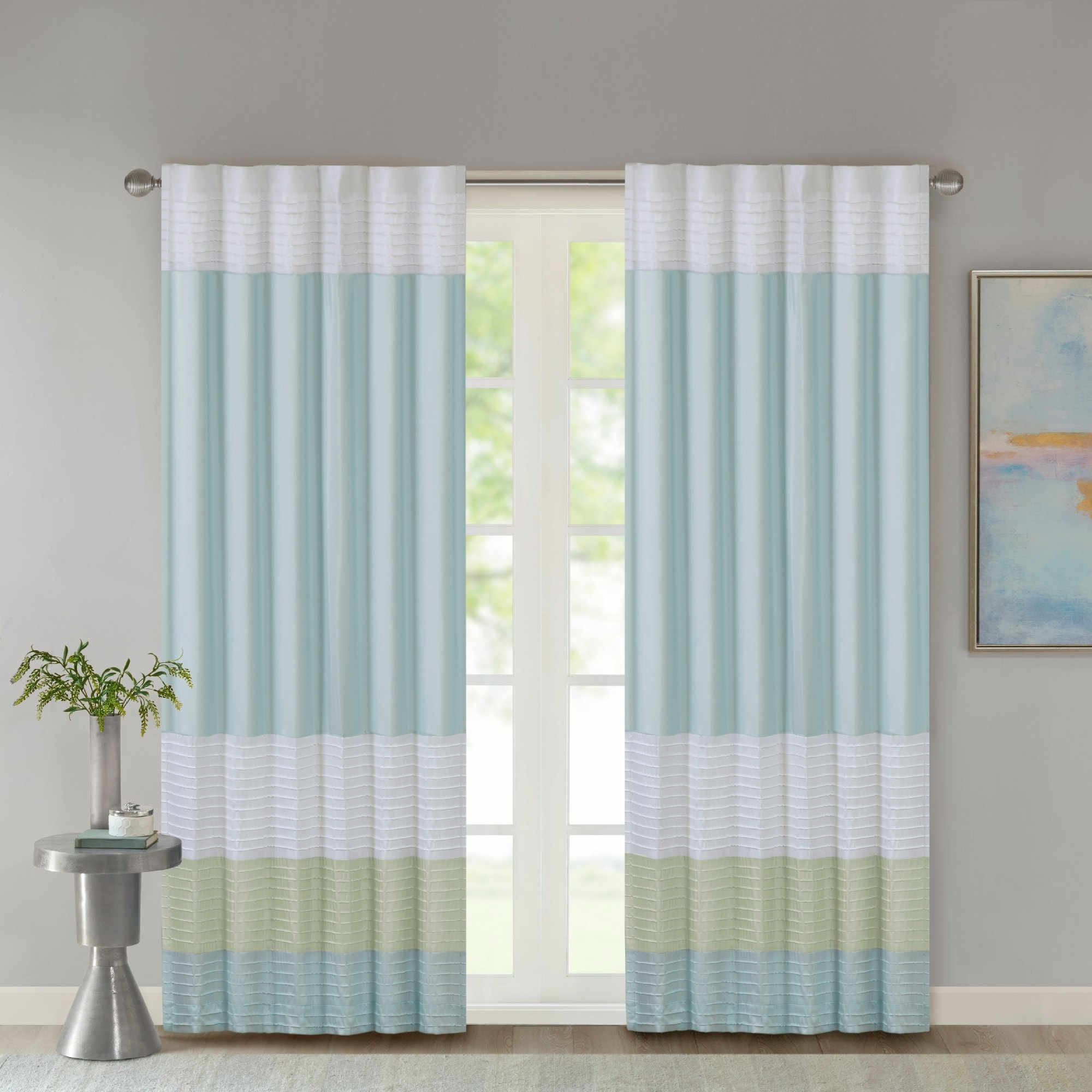 elegant shower curtain green blue scheme and brown of curtains