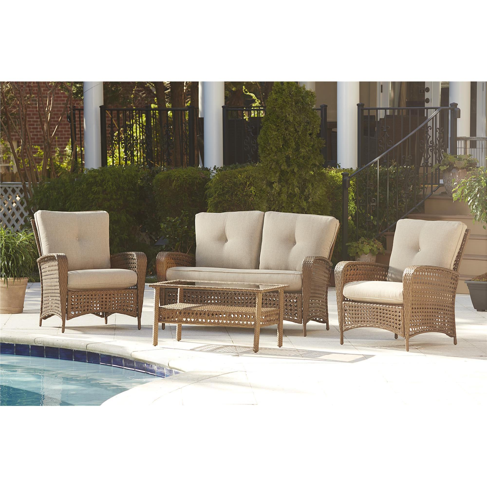 Cosco Outdoor Steel Woven Wicker Patio Conversation Set with