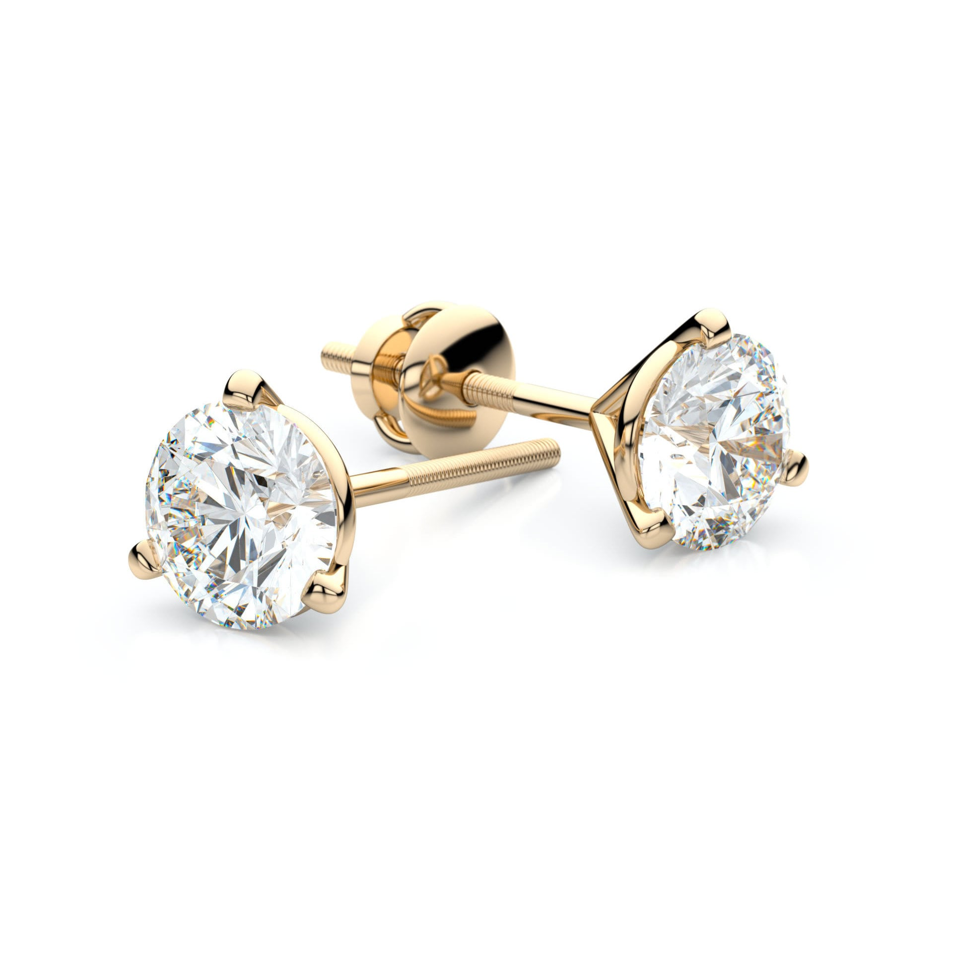 prong gold round white carat earrings in ctw tw h basket stud diamond i