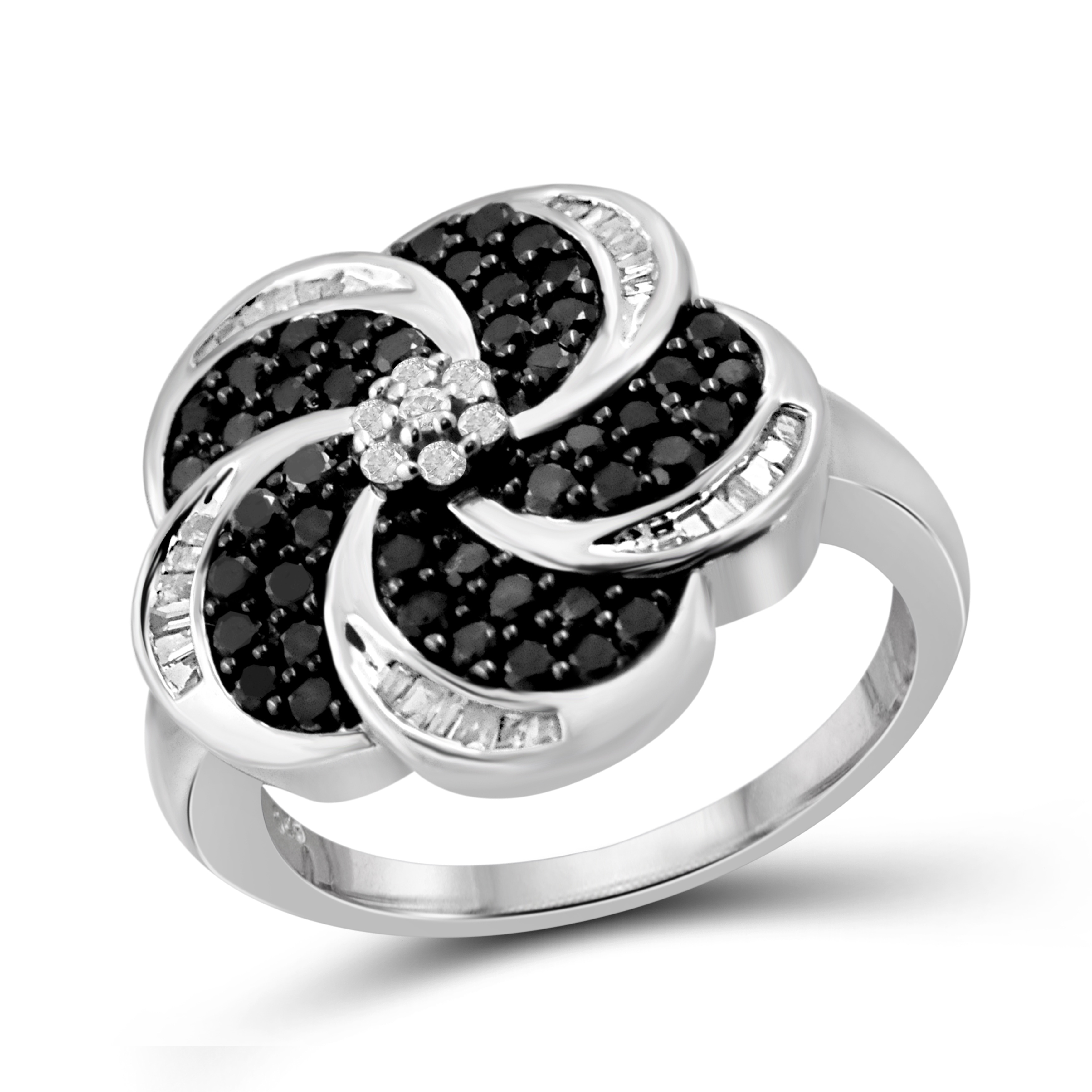 Shop Jewelonfire Sterling Silver 1ct Tdw Black And White Diamond