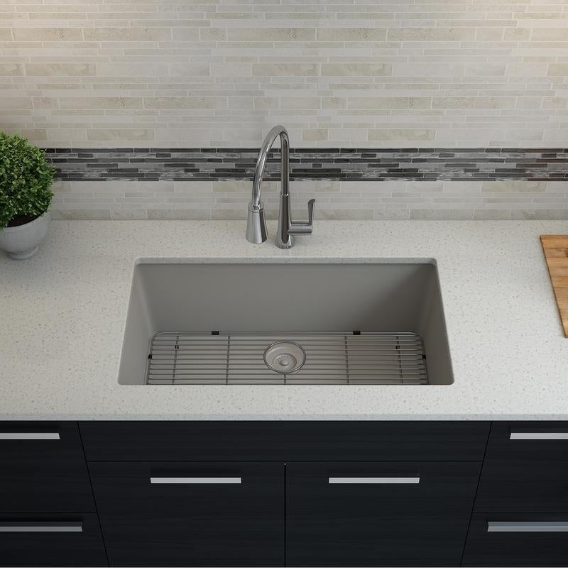Shop Lexicon Platinum Quartz Composite 32x19-inch Kitchen Sink with ...