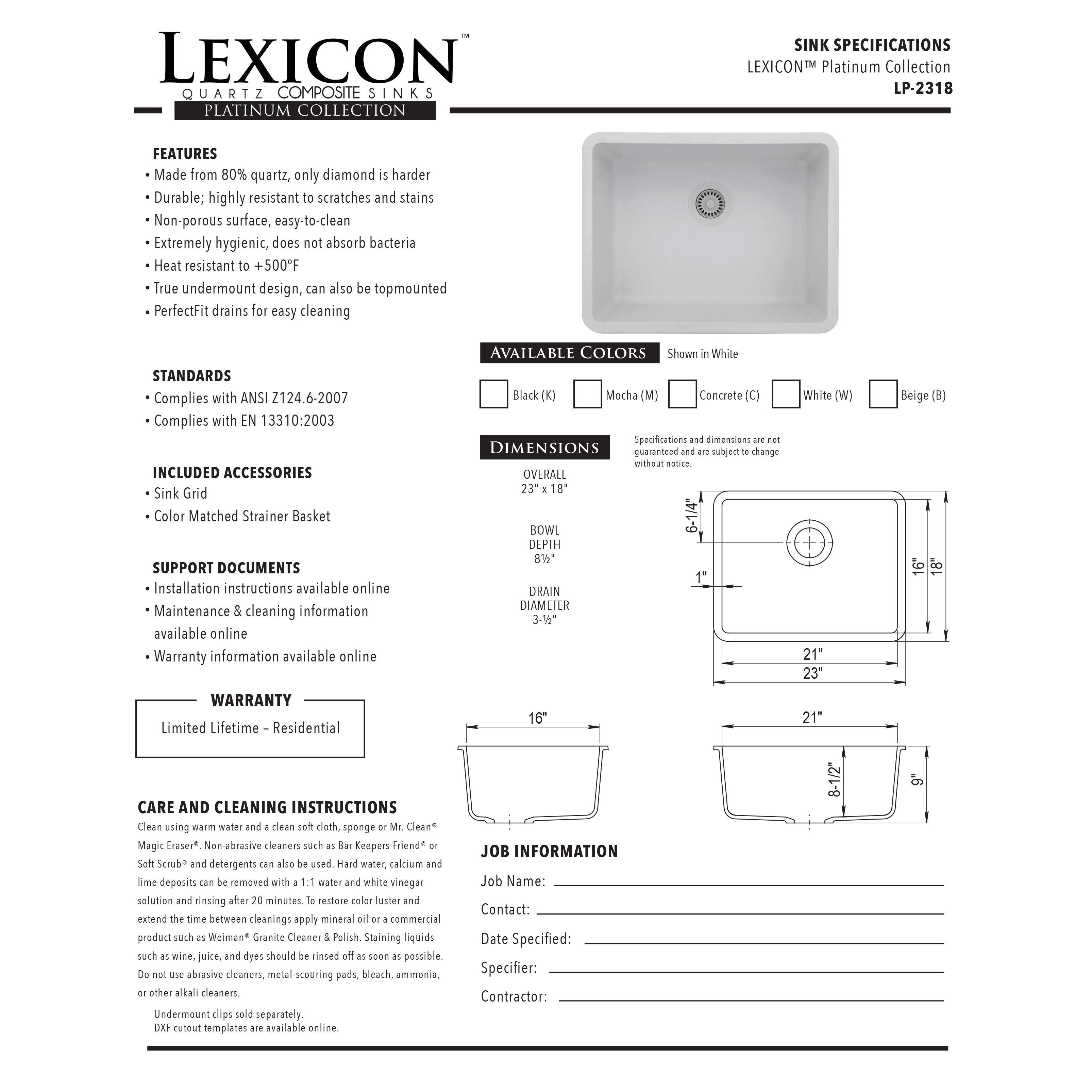 Lexicon Platinum Medium Single Bowl Quartz Composite Kitchen Sink   Free  Shipping Today   Overstock.com   18544759
