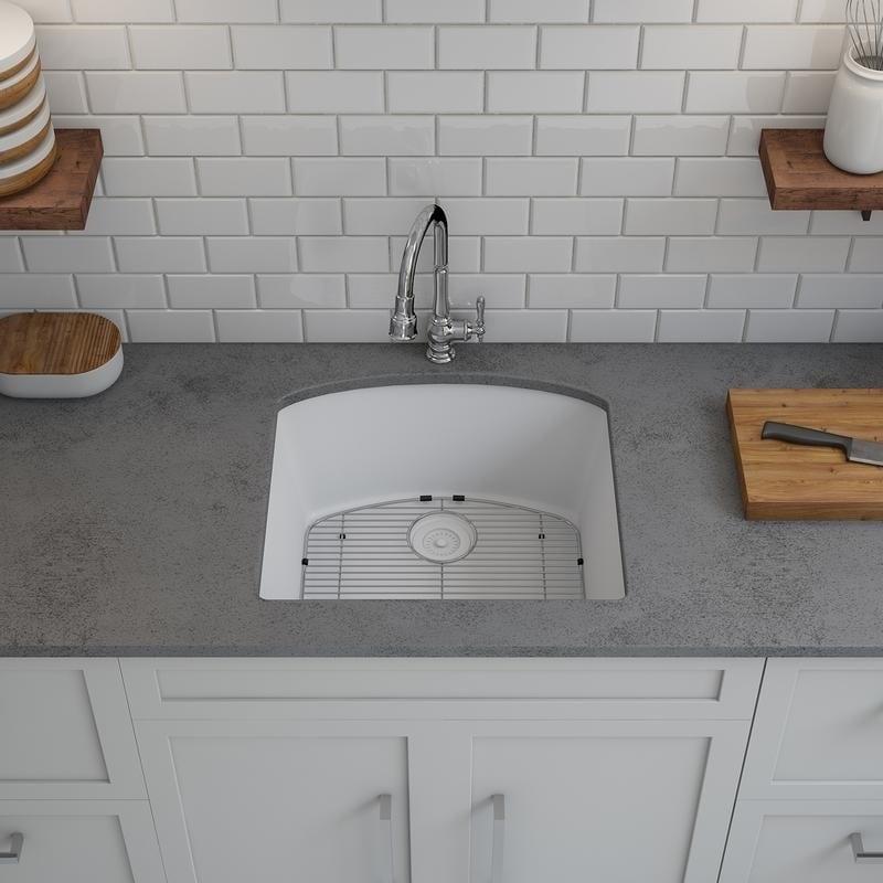 Shop Lexicon Platinum D-shaped Single Bowl Quartz Composite Kitchen ...