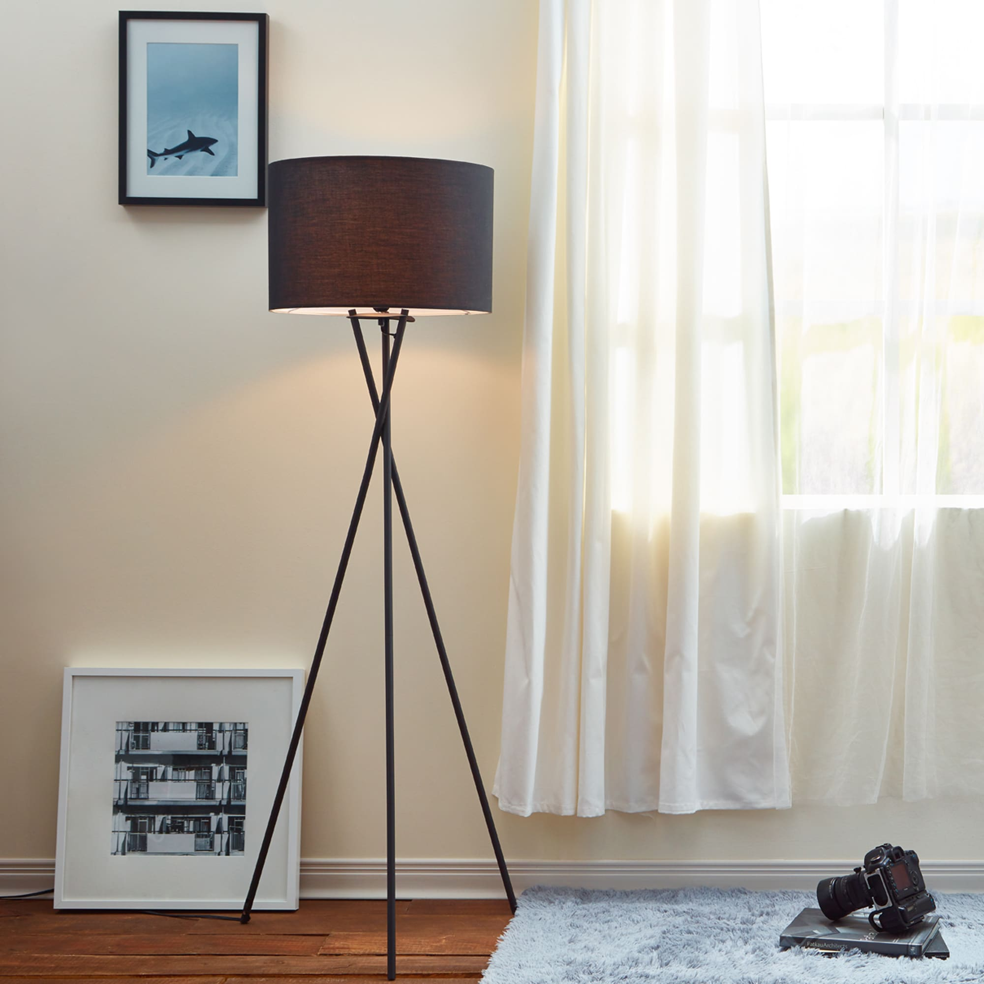 Cara Matte Black Tripod Floor Lamp With Shade 62 2 Inches Free Shipping Today 11607843
