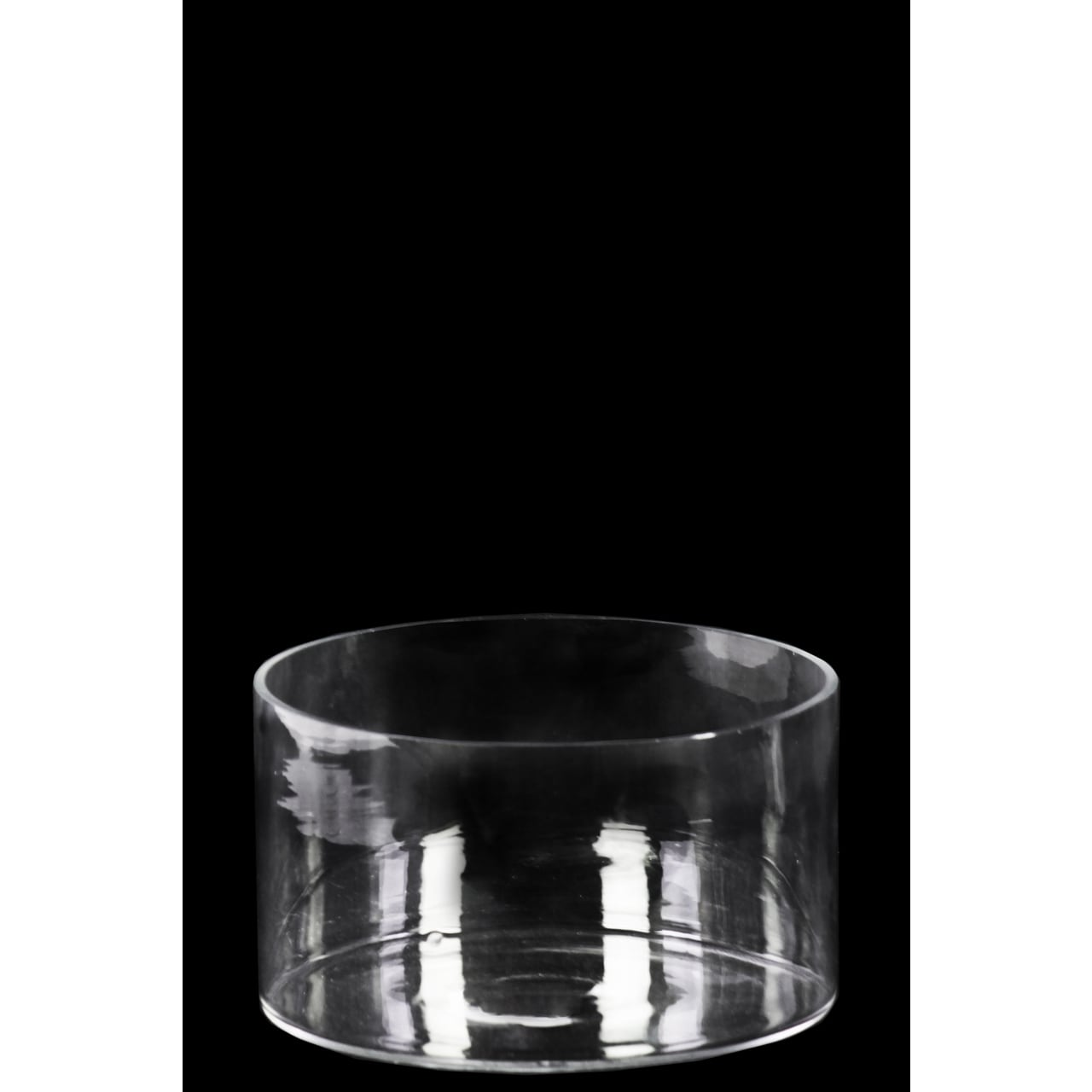 Glass low wide cylinder vase with round mouth clear glass finish glass low wide cylinder vase with round mouth clear glass finish achromatic free shipping on orders over 45 overstock 18545600 reviewsmspy