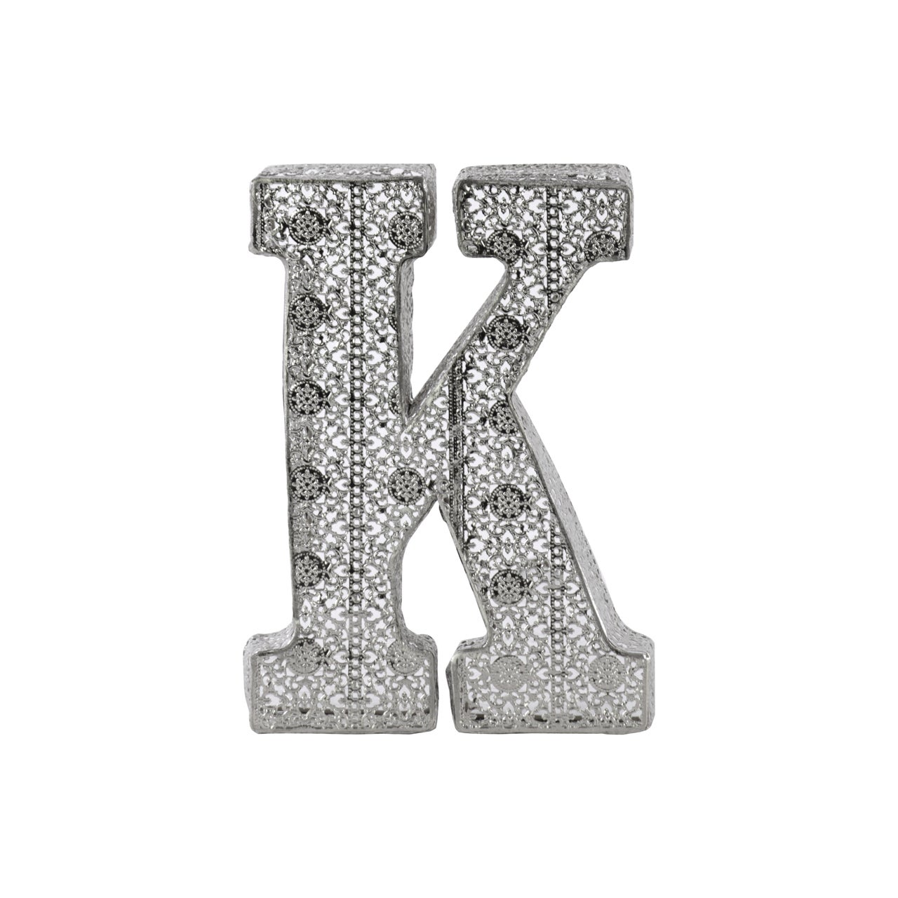 Shop Distressed Silver Metallic Finish Pierced Metal Letter K Wall