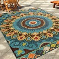 Carolina Weavers Indoor/Outdoor Santa Barbara Collection Bangkok Multi Area Rug (5'2 x 7'6)